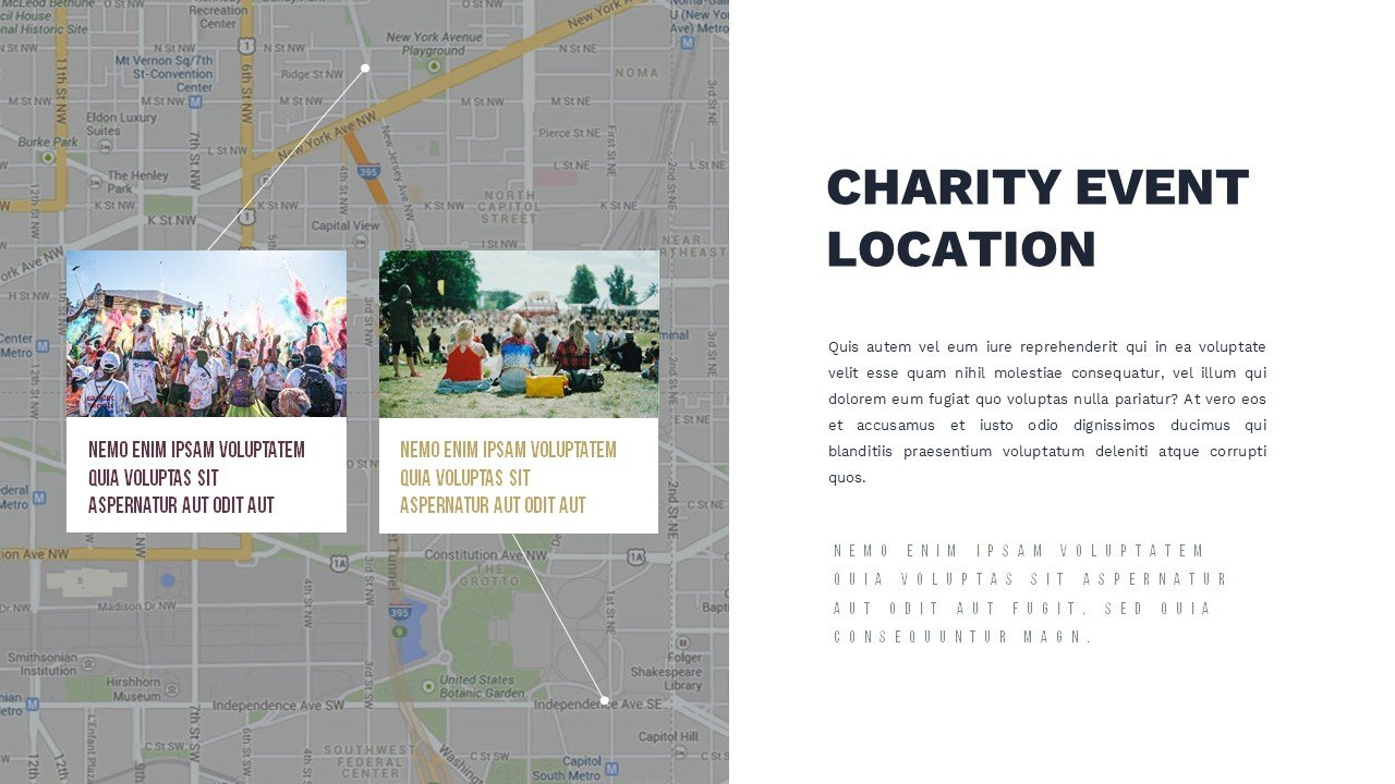 Map slide for easy and quick location of the event. Charity Presentation.