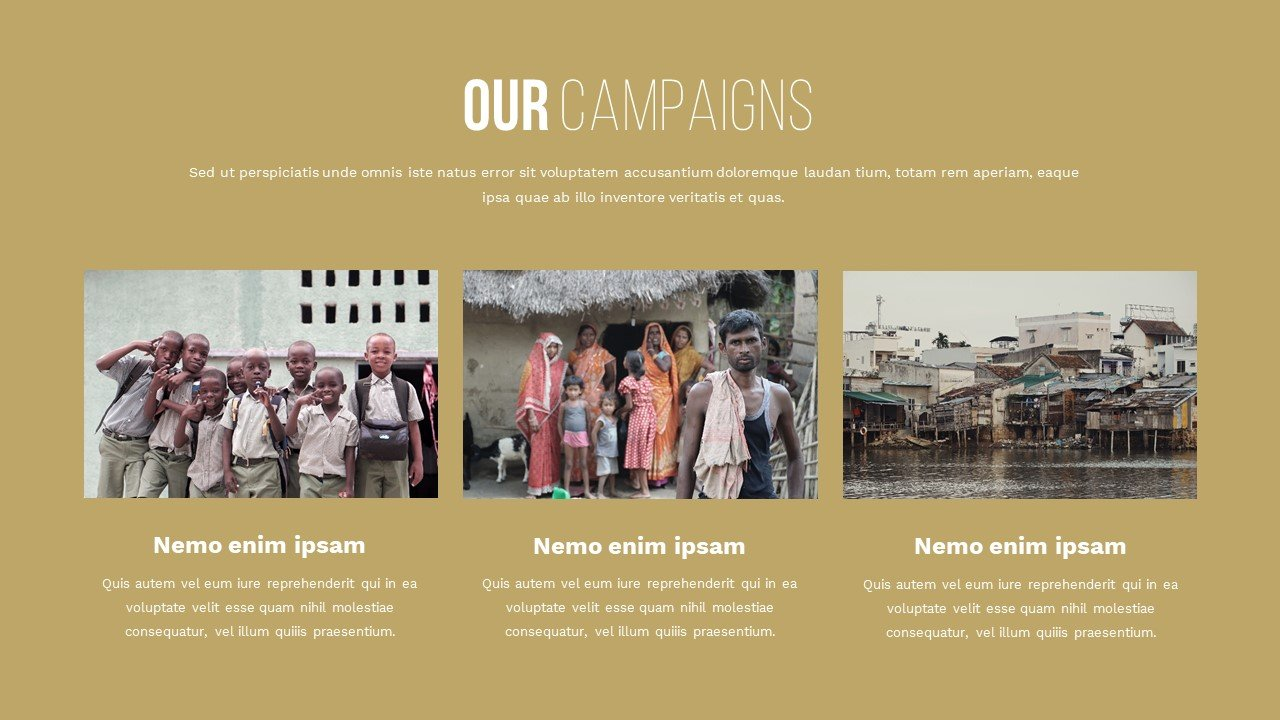 A curry slide with three pictures of poor regions of India, each with a caption. Charity Presentation.
