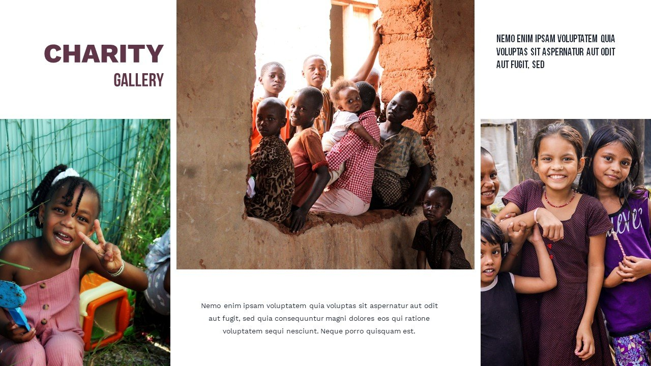SThis slide is more about the visuals. Here are three photographs of children from poor regions. Charity Presentation.
