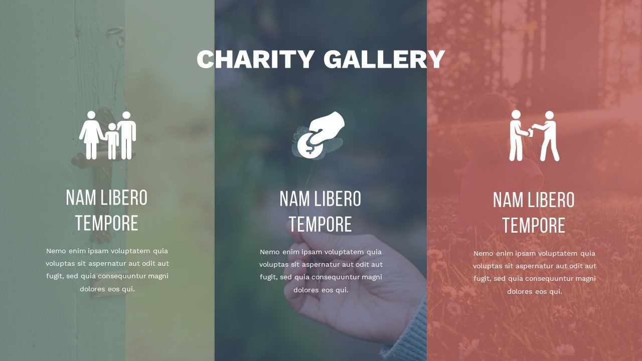 Slide in warm autumn colors with infographics. Charity Presentation.