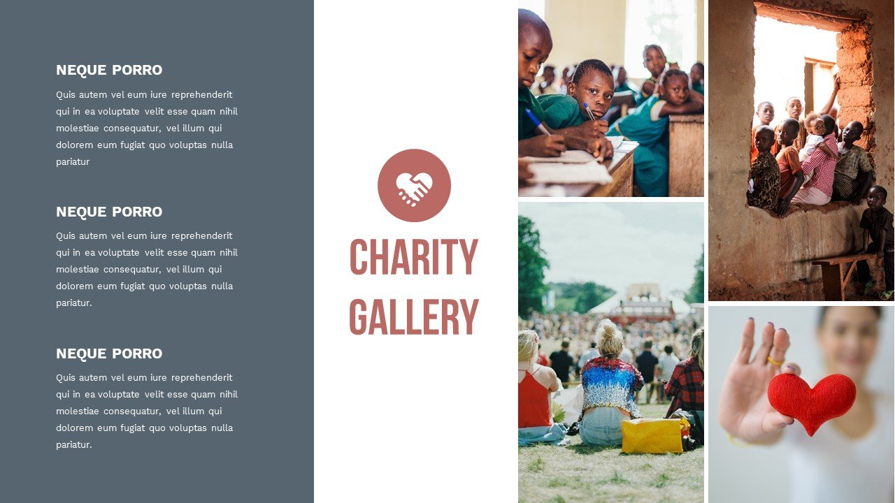 Multi-fit slide with bright and high-quality graphics and text blocks. Charity Presentation.