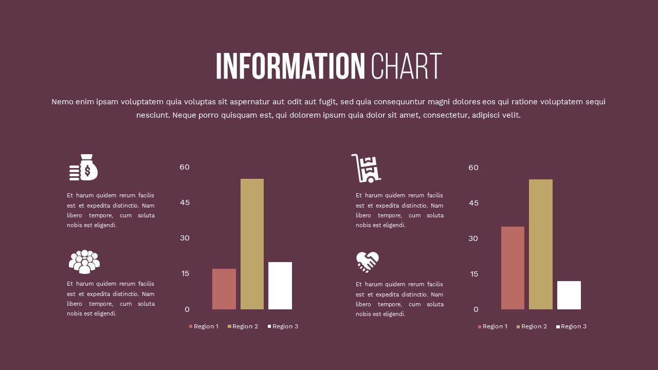 Slide in red plum color with infographics. Charity Presentation.