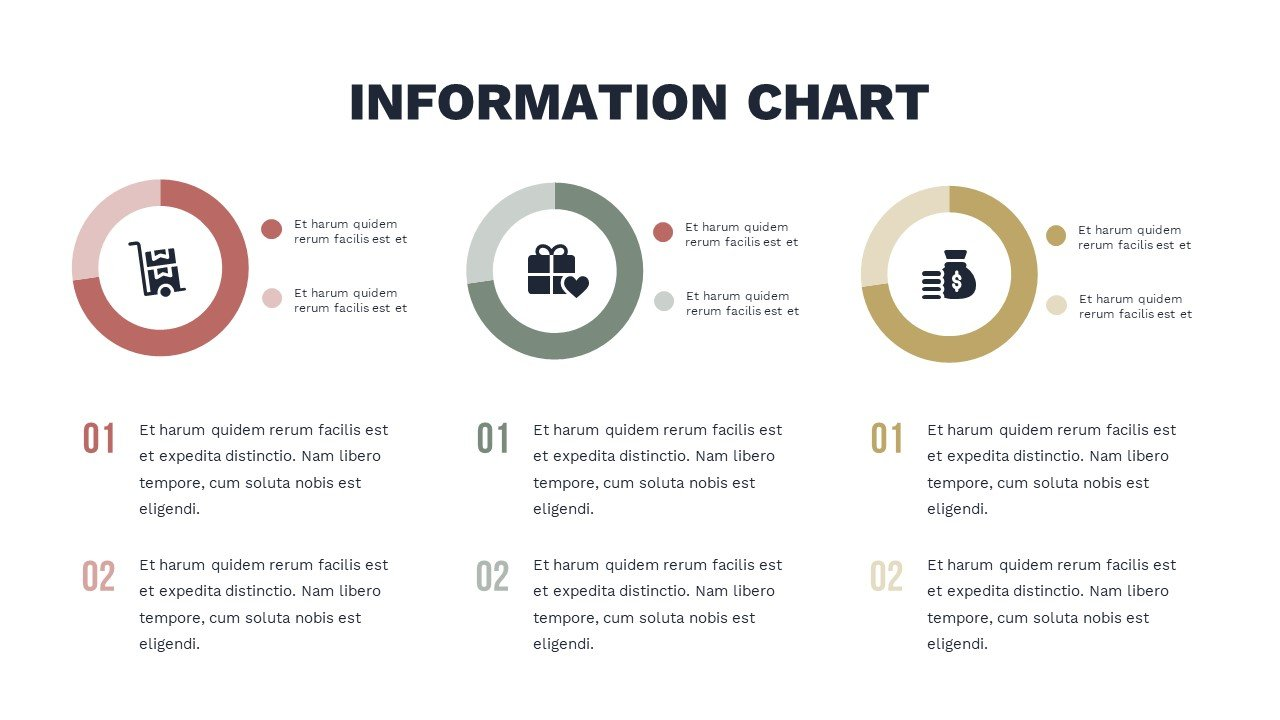 Infographics in three versions on a white background and in different colors. Charity Presentation.