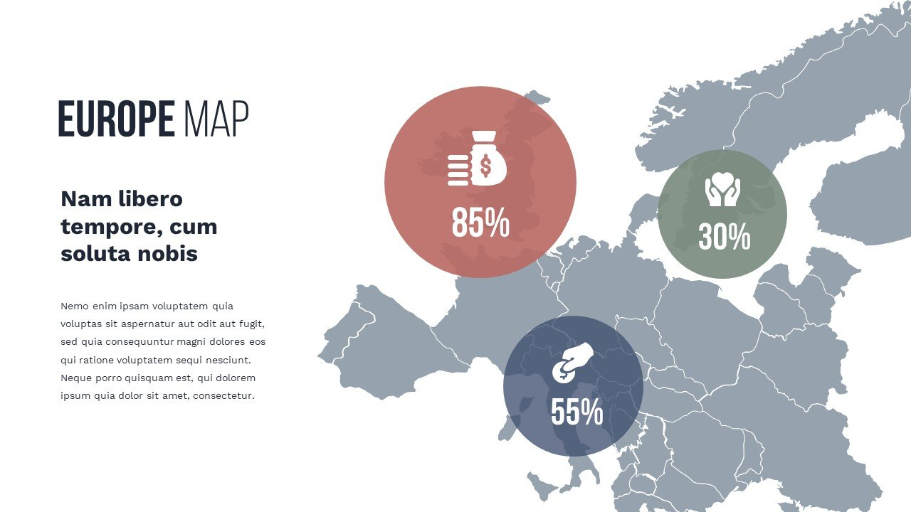 3Europe map in gray with bright infographics. Charity Presentation.