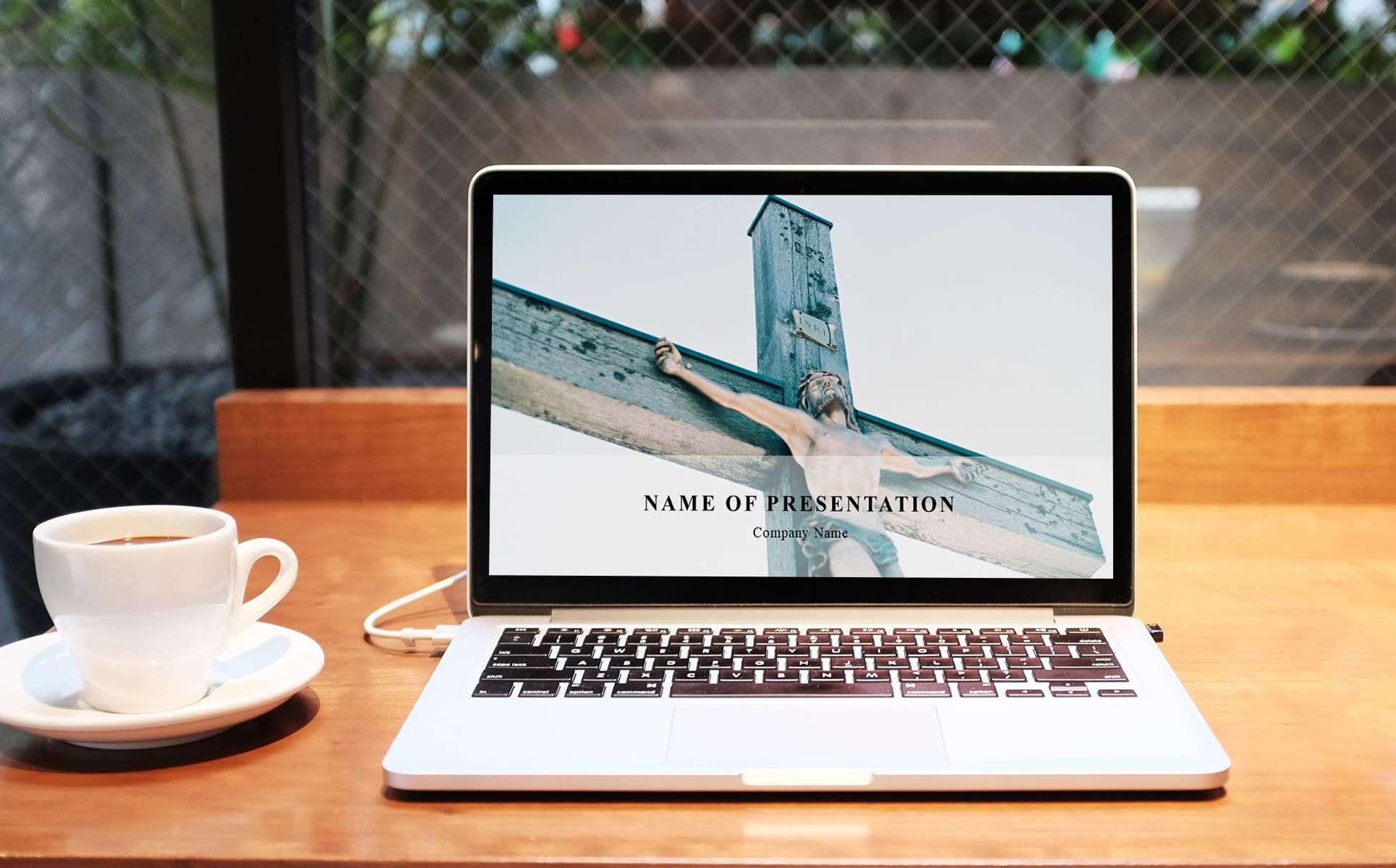 Worship Jesus Powerpoint Background-laptop on the table