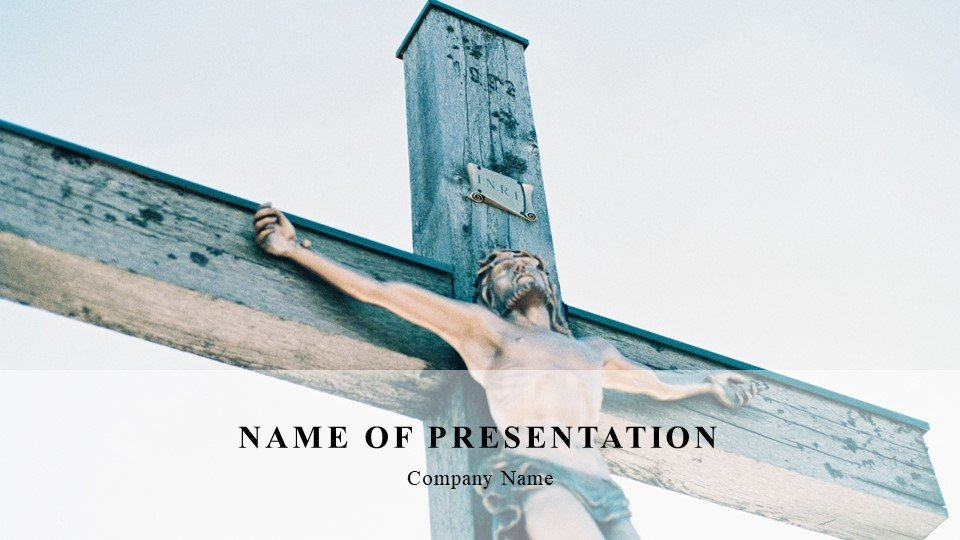 Template in blue shades depicting the crucifixion of Christ.