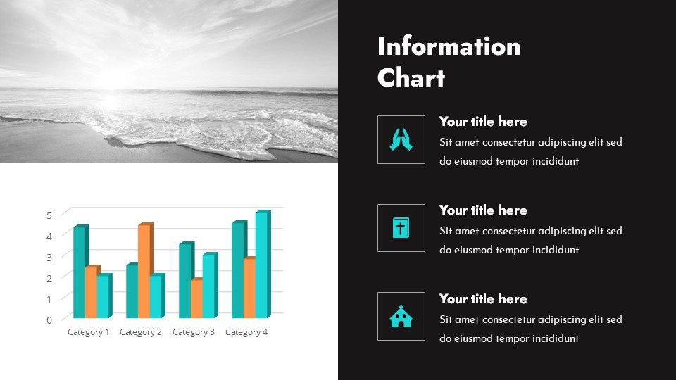 TThe template was created to be used. It is filled with both text blocks and infographics..