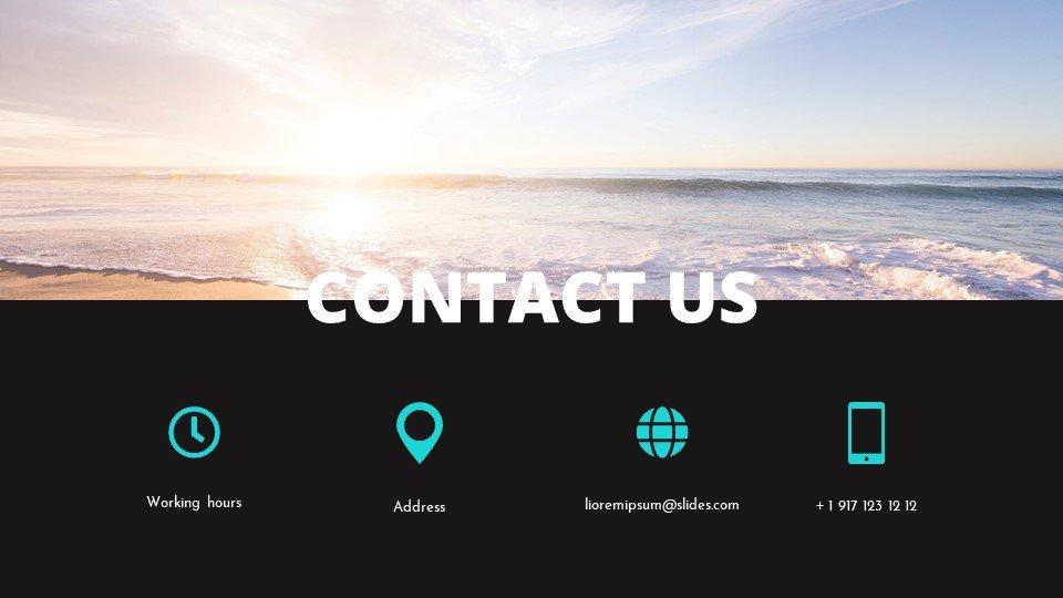 The last slide is the contacts, which are placed against the background of a beach.