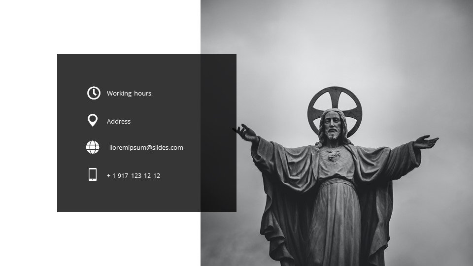 The last slide is the contacts. Beatification - Free Blessed Worship Background Powerpoint.