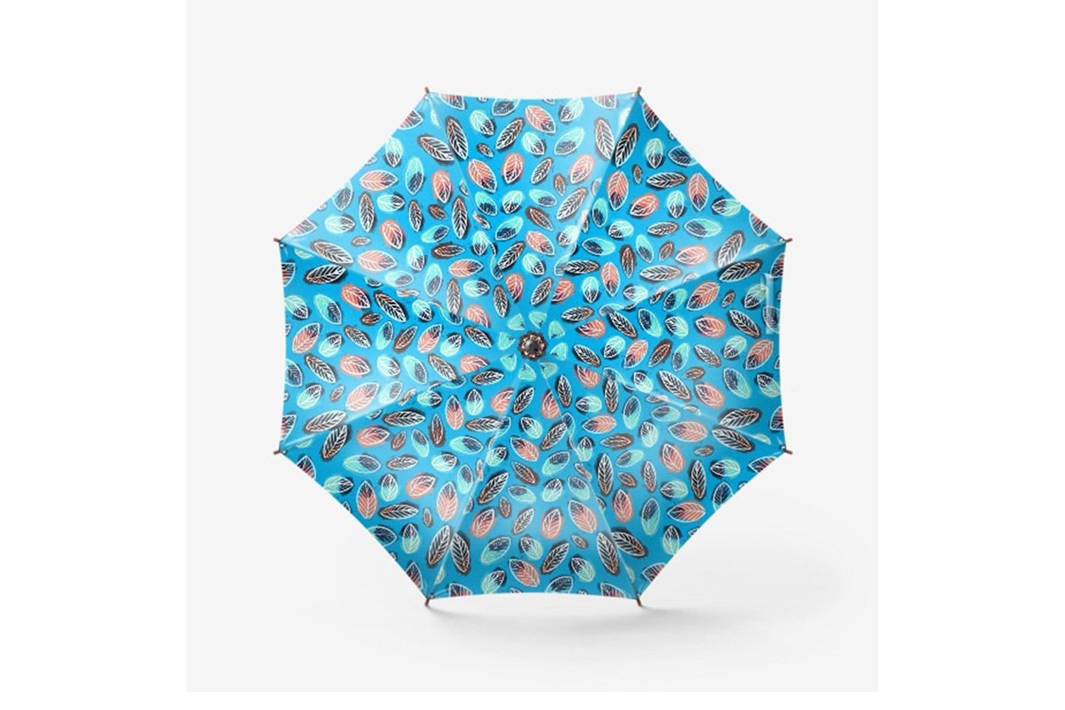 Blue umbrella with pillow.