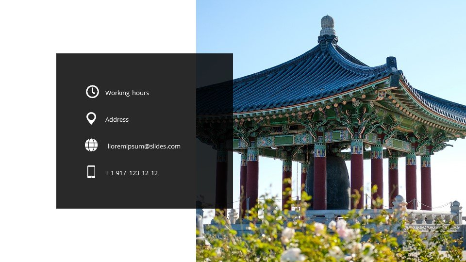 The last slide is the contacts. Korean - Free Korean Worship Powerpoint Background.