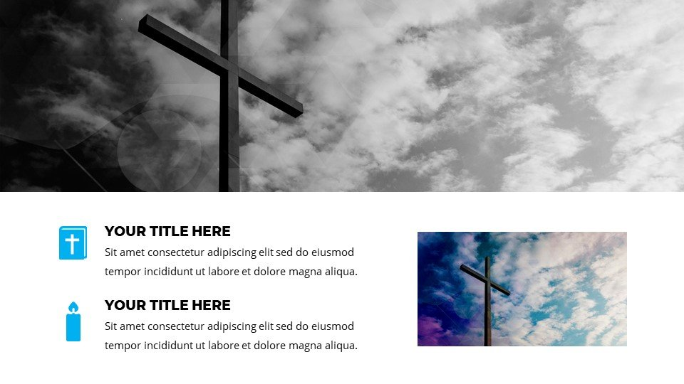 You can adapt the font, icons, pictures to your theme. Nebulosity - Modern Worship Powerpoint Background.