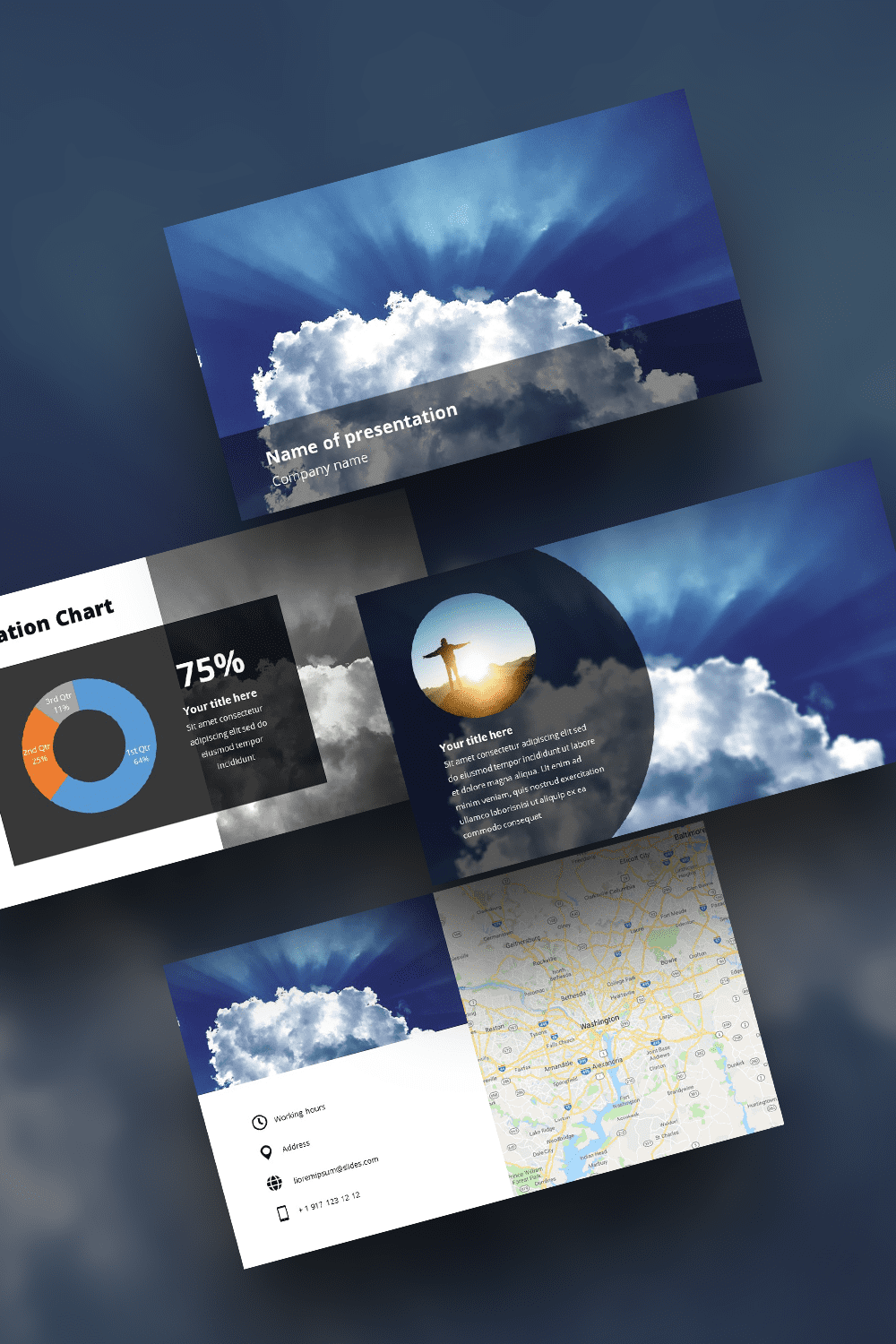 Deep color pattern with clouds. It will perfectly cover any topic.