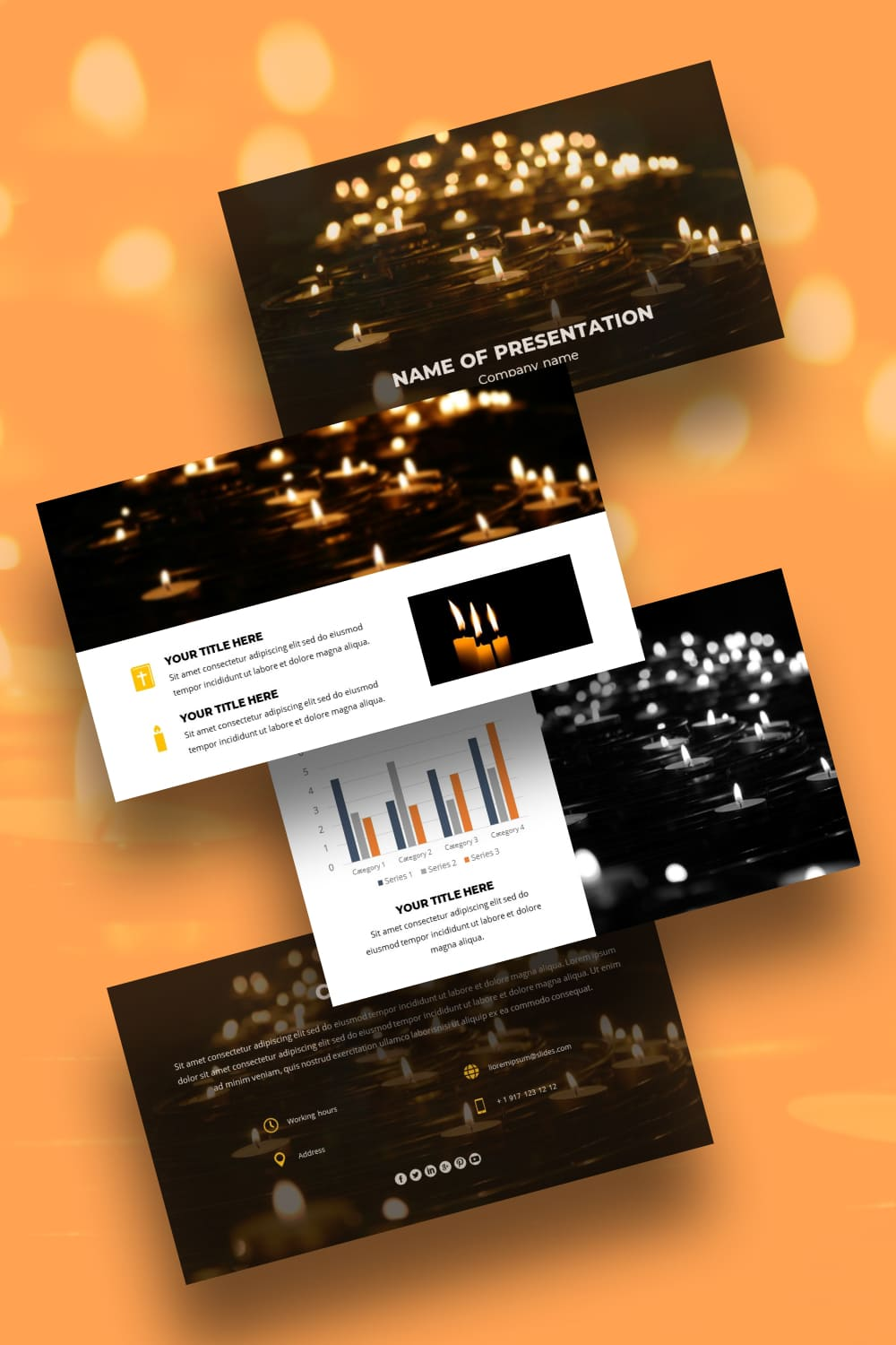 This is such a beautiful template. Candles reflect the inner fire of a person. This template will add warmth and comfort to your presentation.