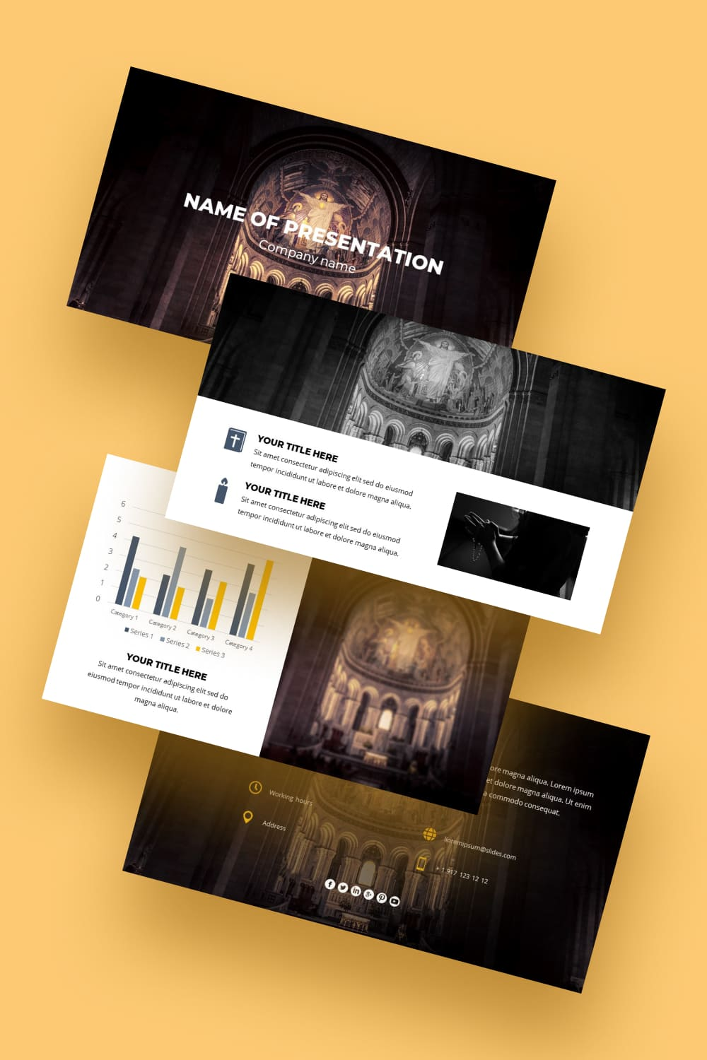 Painting on walls, icons, domes is all church art that bewitches and beckons. With this free template, you will make your entire presentation special and unique.