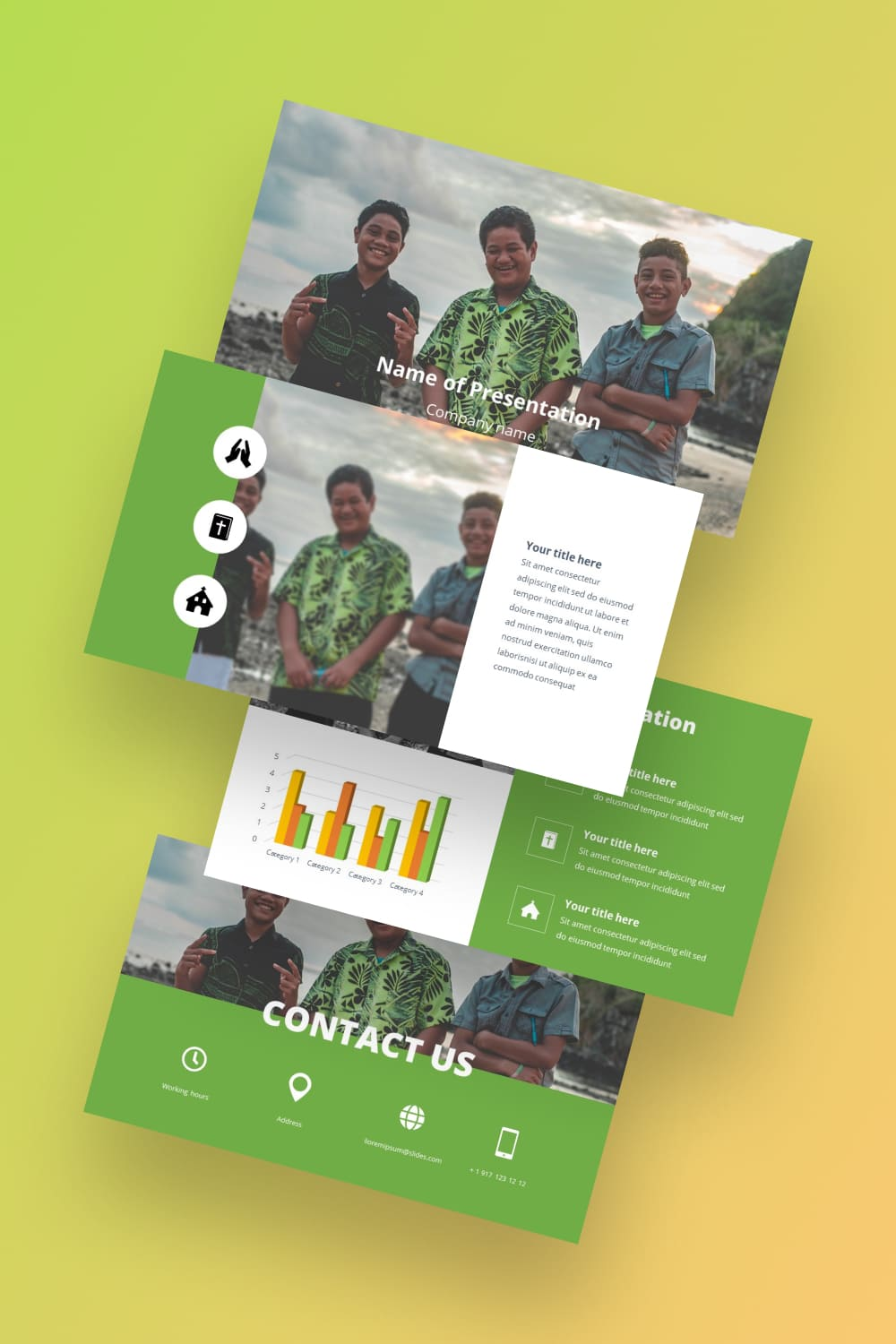 Samoan Free Worship Songs Powerpoint Background. Eco friendly green template. He will calmly suit different topics.