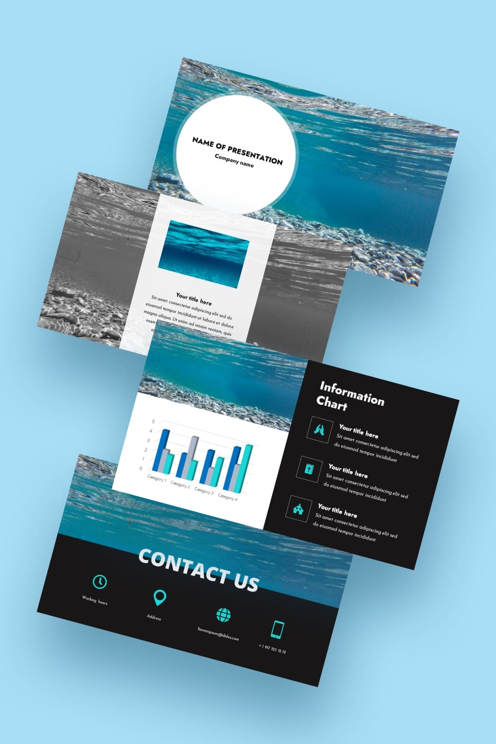 Free Worship Powerpoint Background Under Water. Blue grace. Freshness and calmness is felt from this template.
