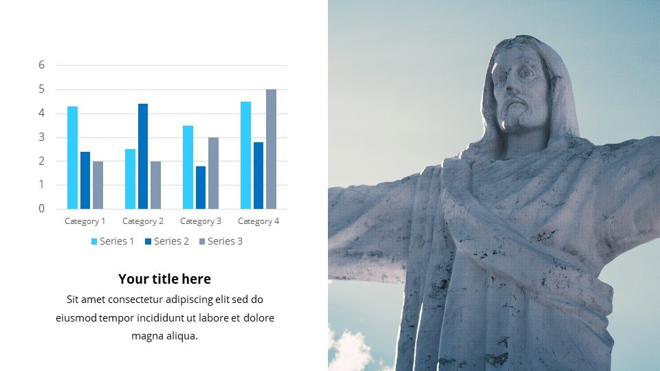 Light and simple infographics complement the template with useful data. Powerpoint Background for Worship the King.