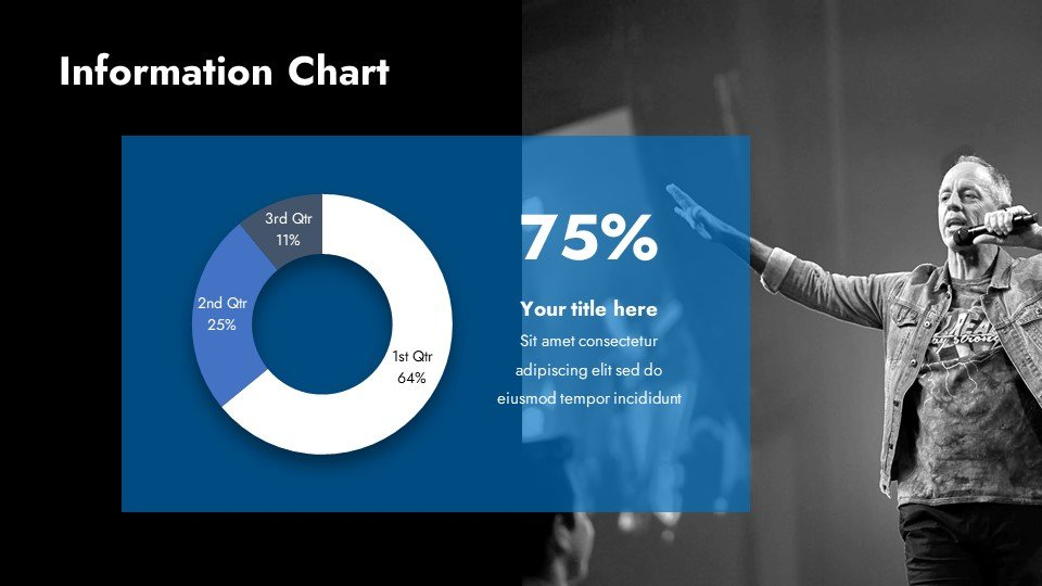 Blue infographics on a black background and with a picture of the speaker will add life to your material.
