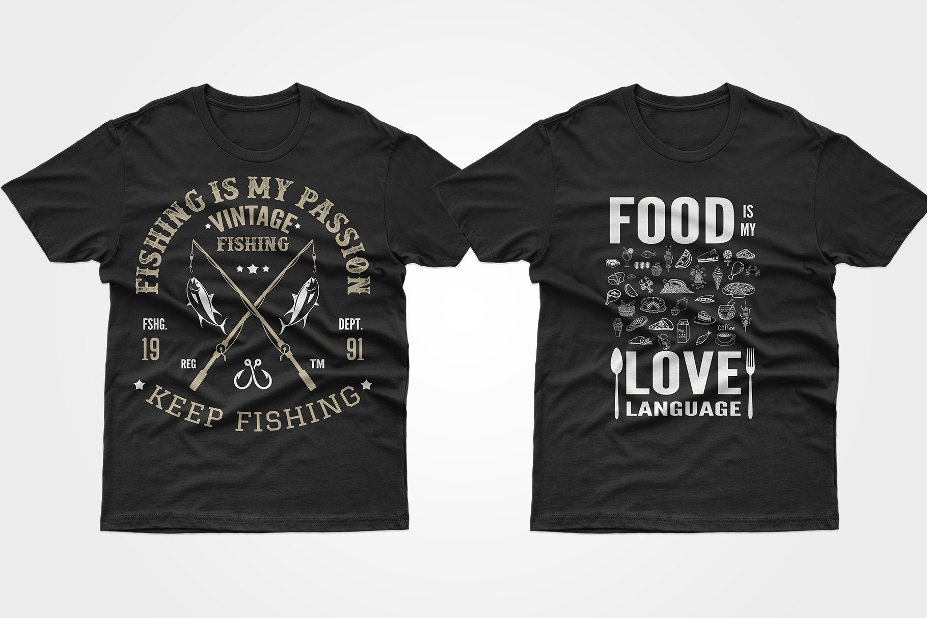 Two black T-shirts - with fishing and food.