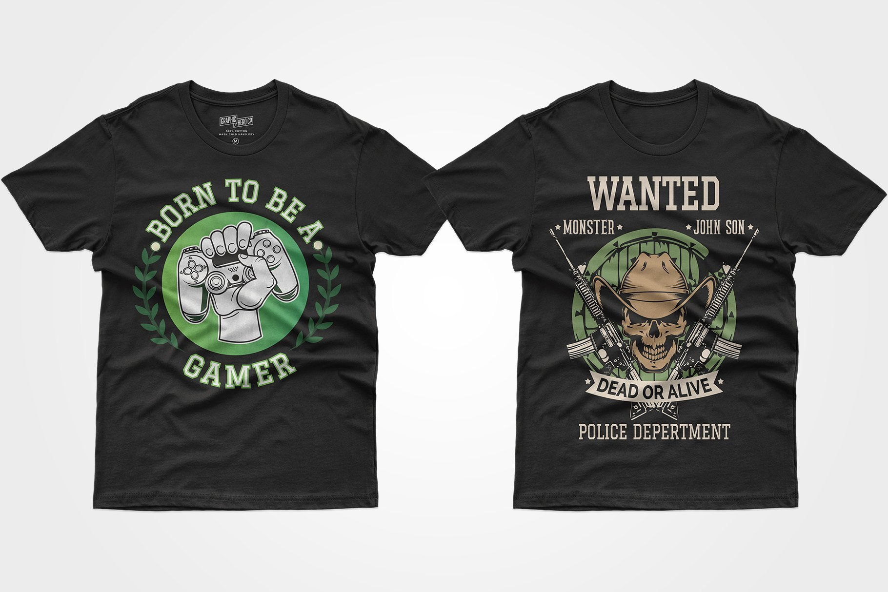 Two black T-shirts - with a prefix in hand and a skull next to machine guns.