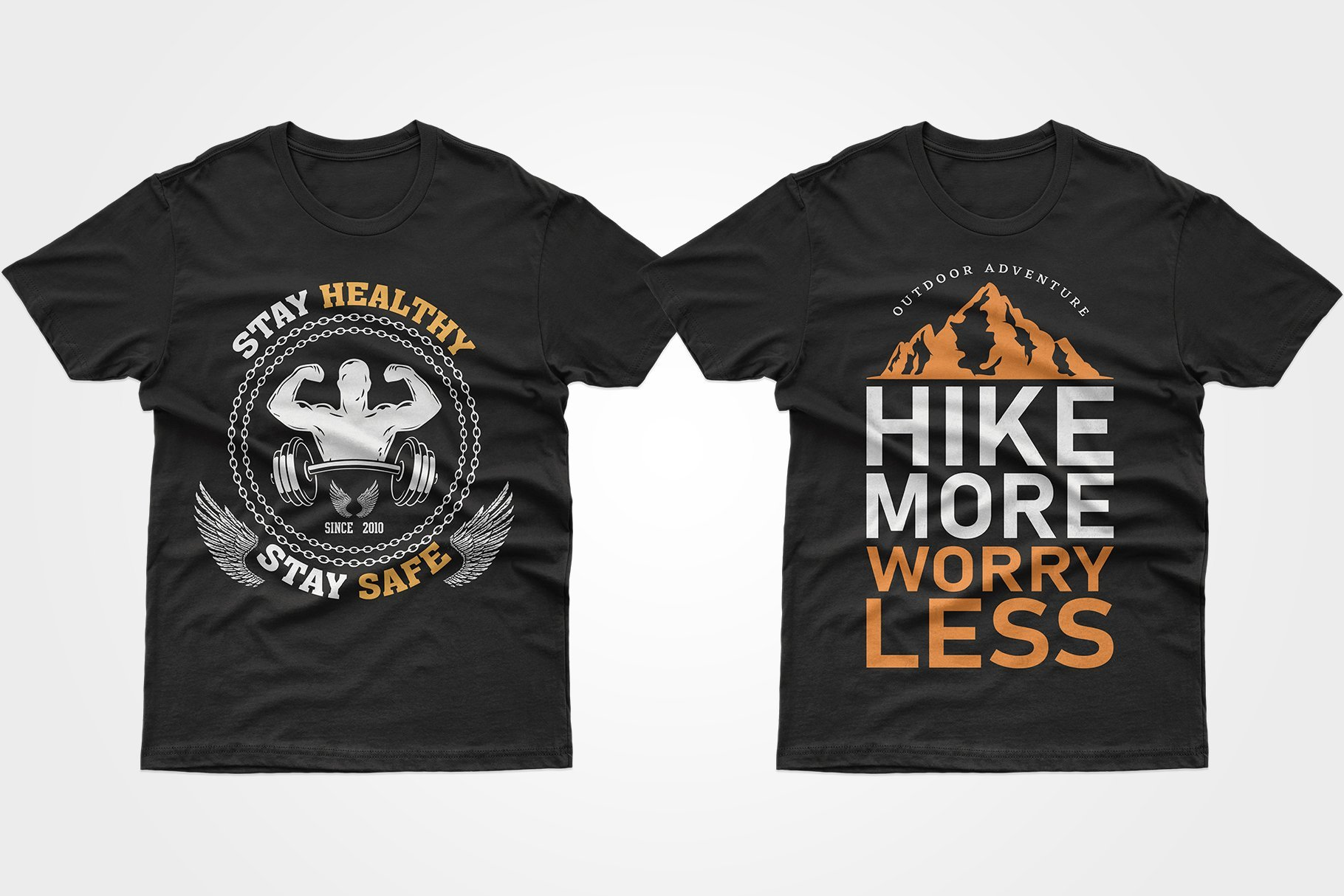 Two black T-shirts - with mountains and a jock.