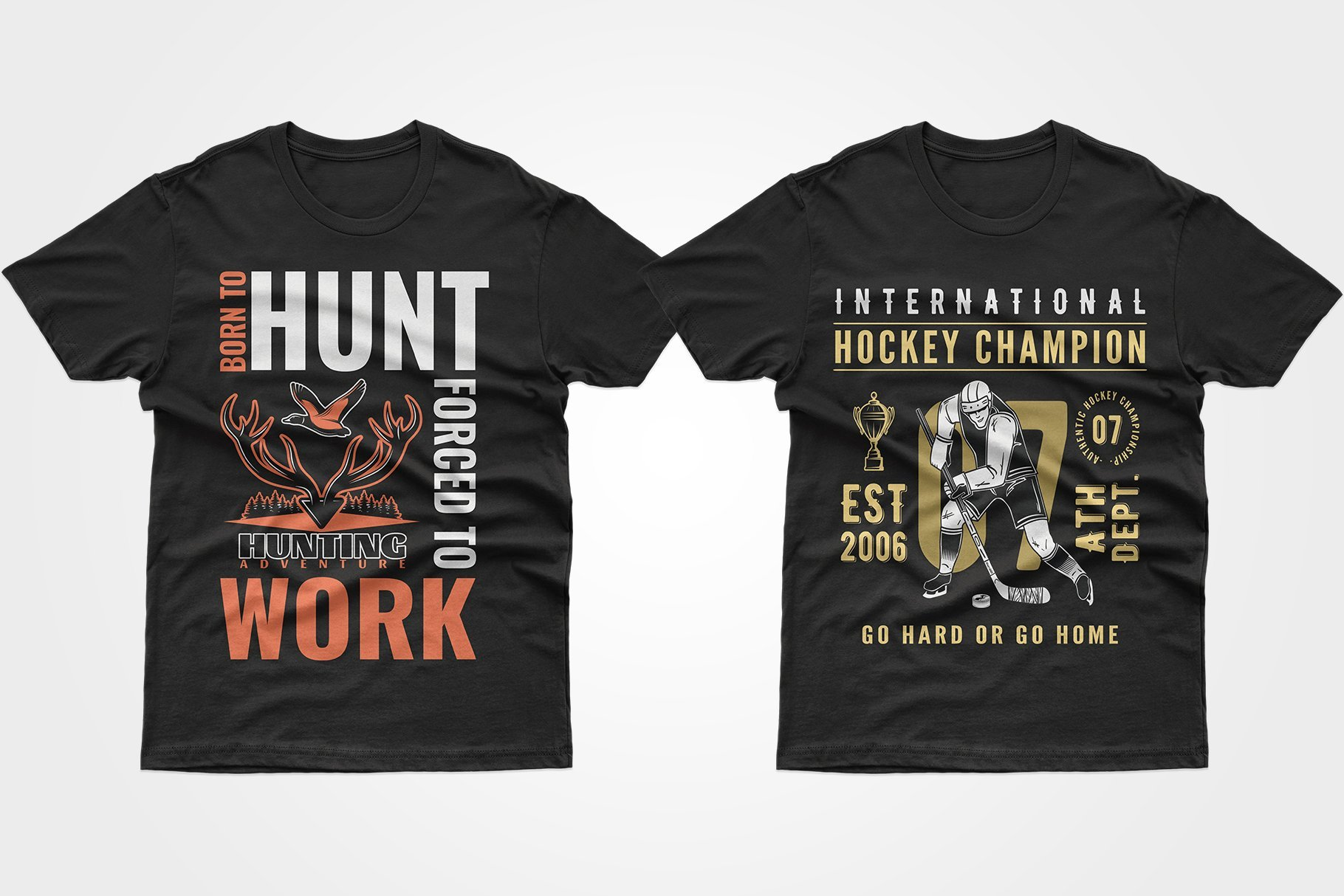 Two black T-shirts - about hunting and hockey.