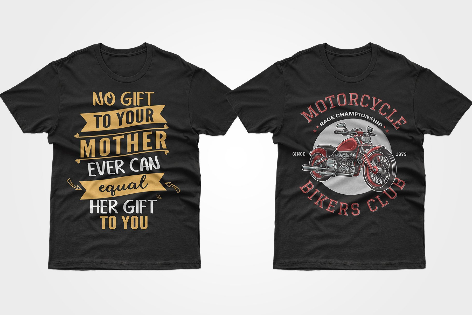 Two black T-shirts - about mom and a motorcycle.