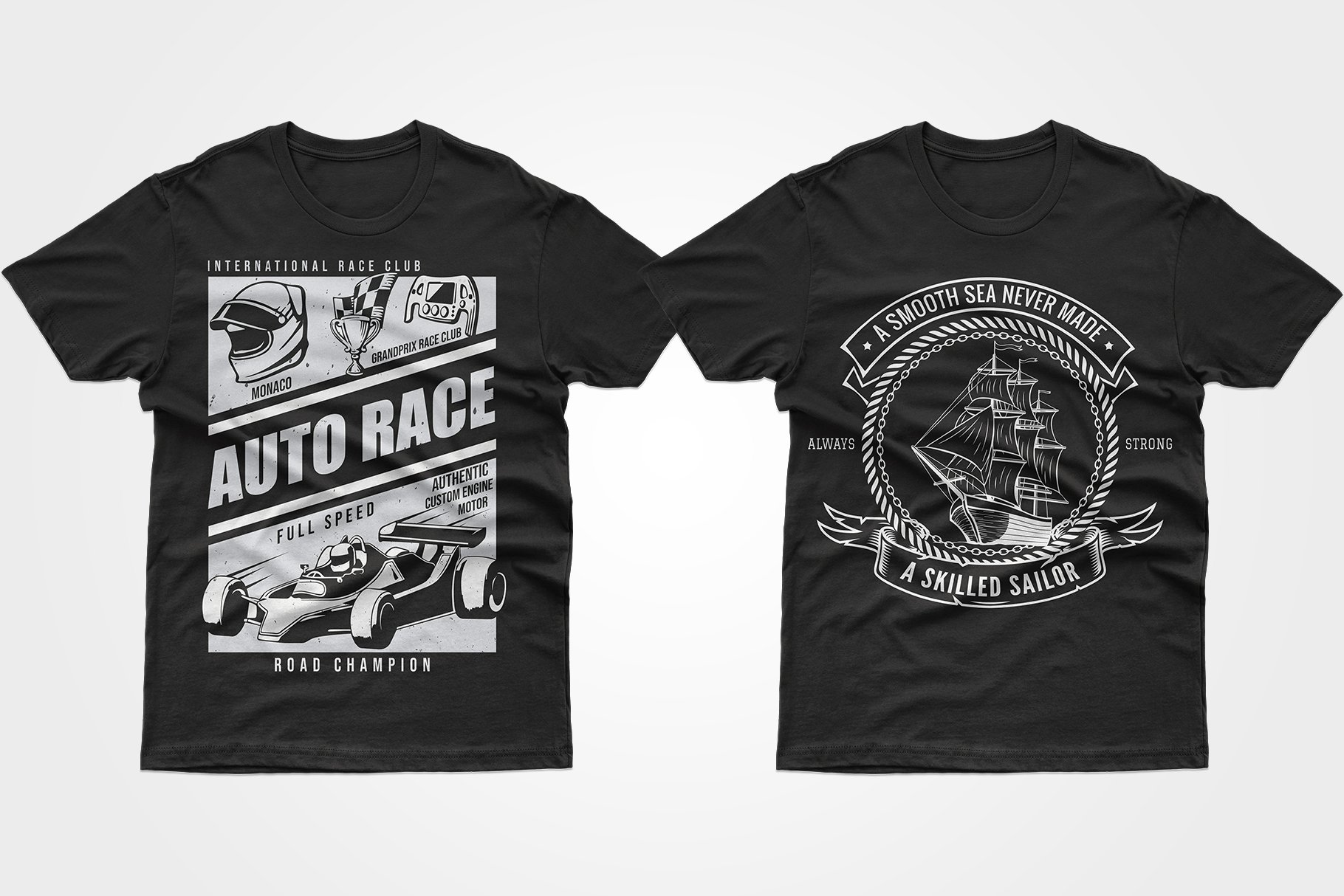Two black T-shirts - with a racing car and a yacht.