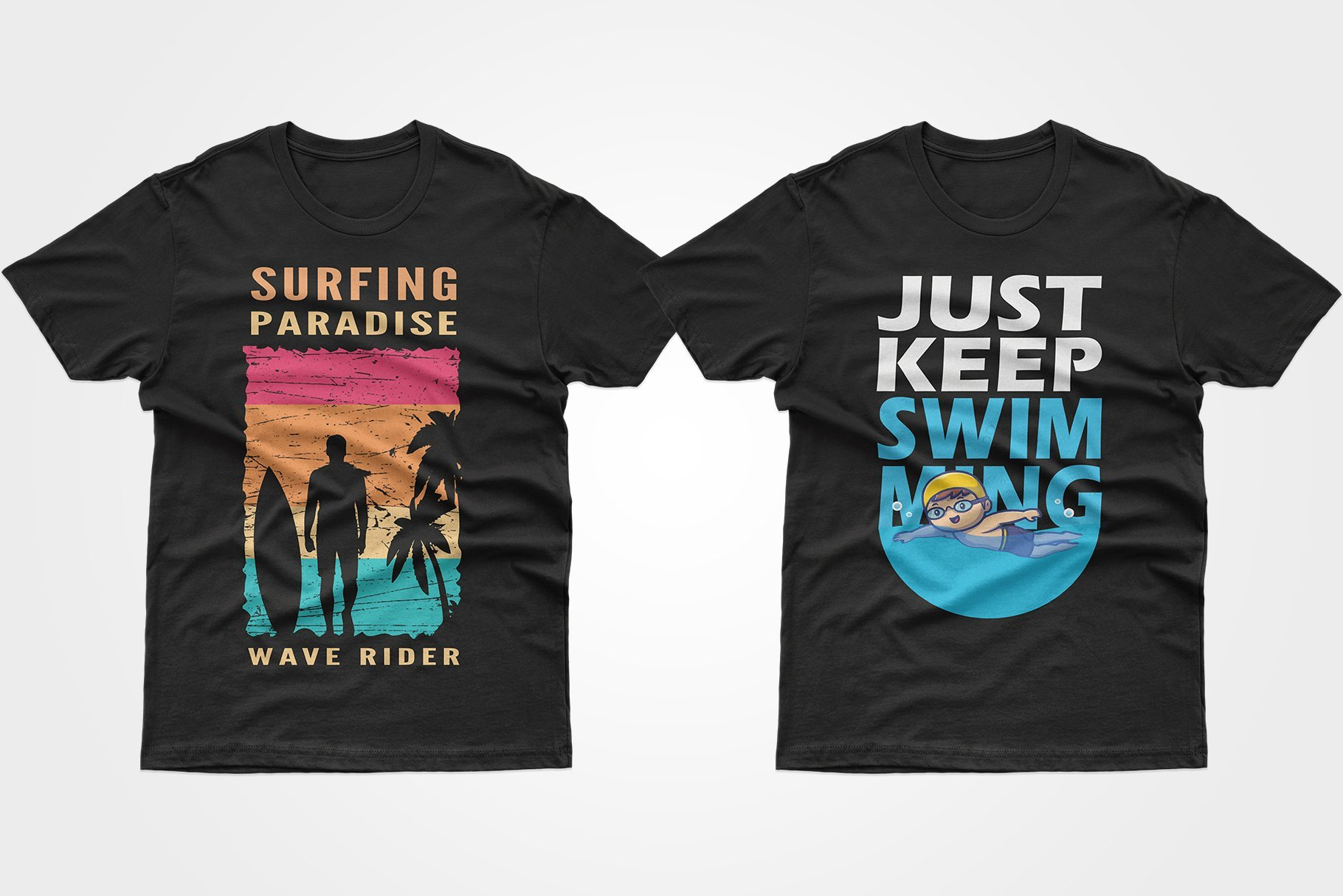 Two black T-shirts - with a surfer and a baby in the pool.