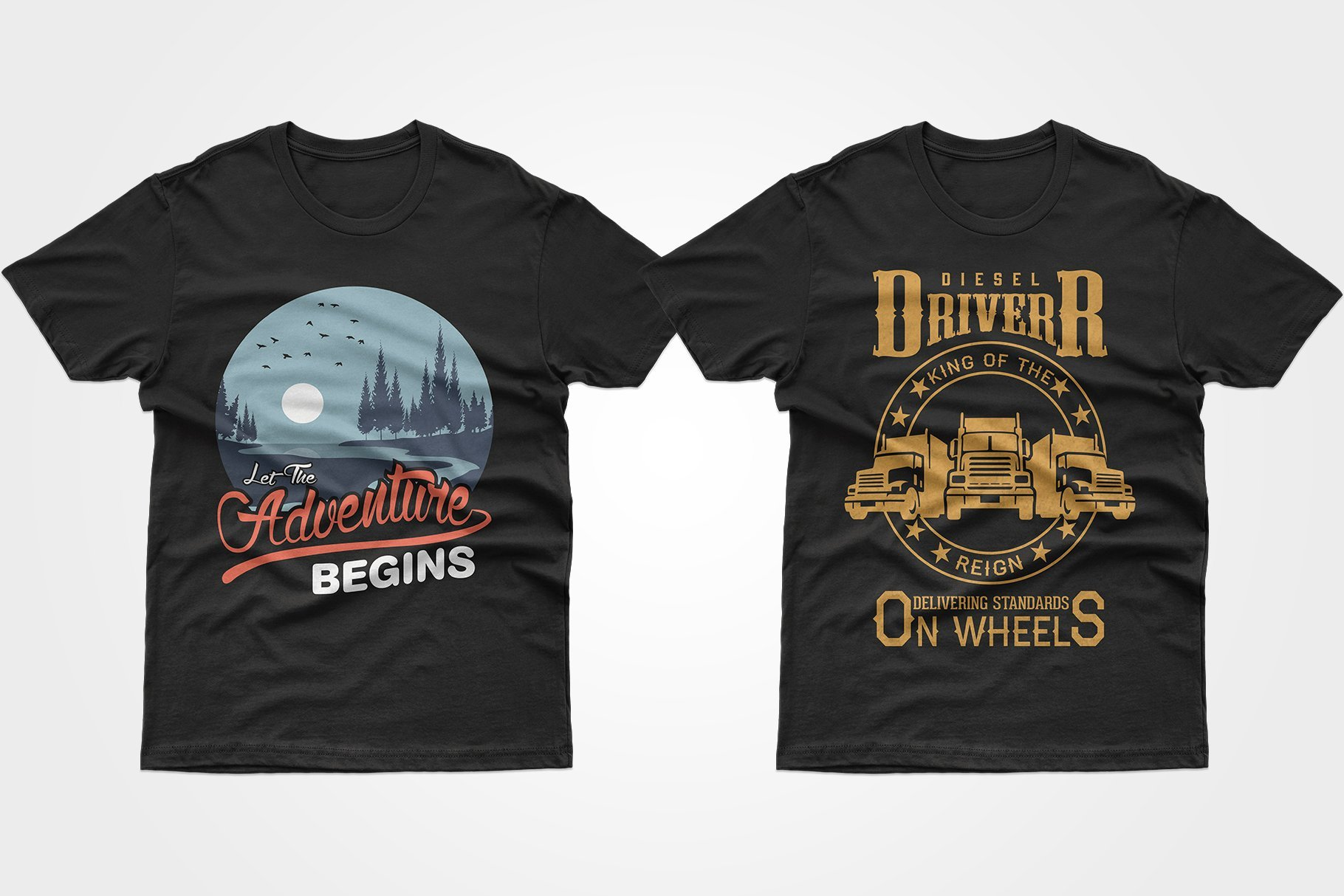 Two black T-shirts - with the road and the trucks.