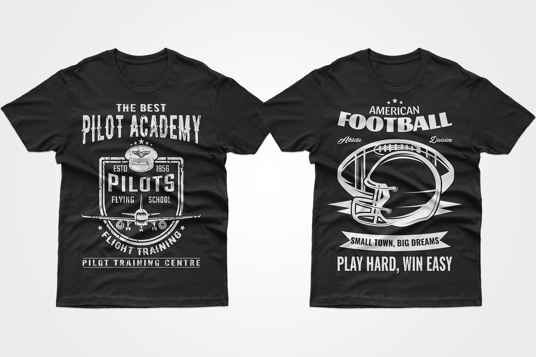 Two black T-shirts with white graphics - with a helmet and an airplane.