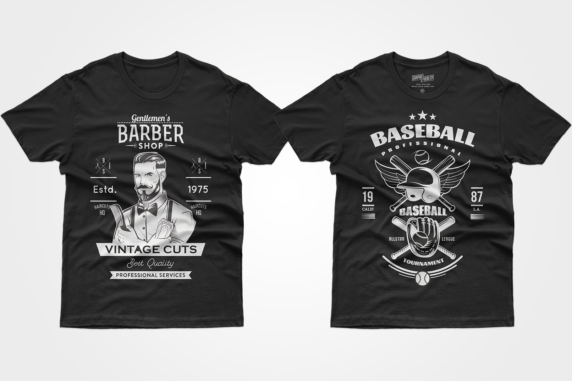 Two black T-shirts - with barbershop advertisements and baseball attributes.