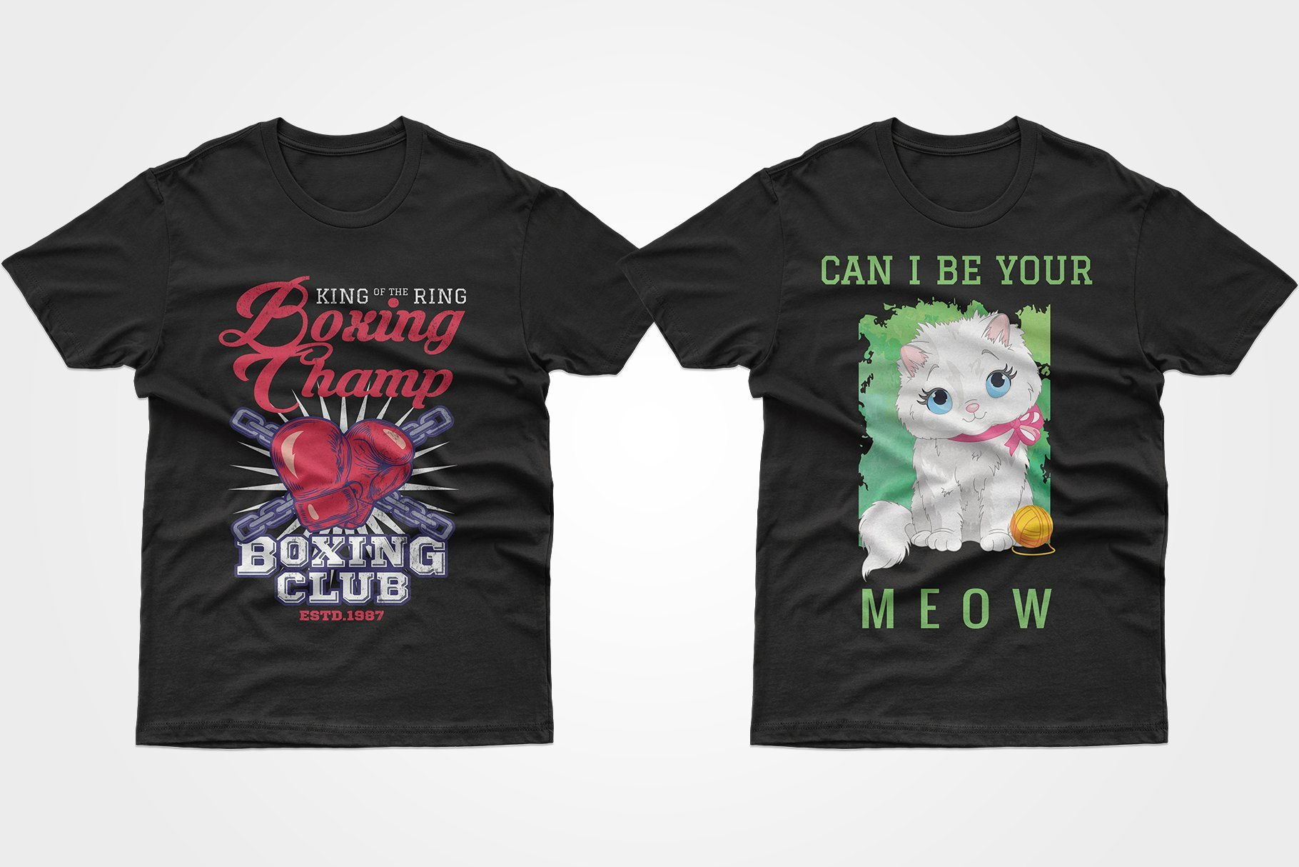 Two black T-shirts - with a kitten and boxing attributes.