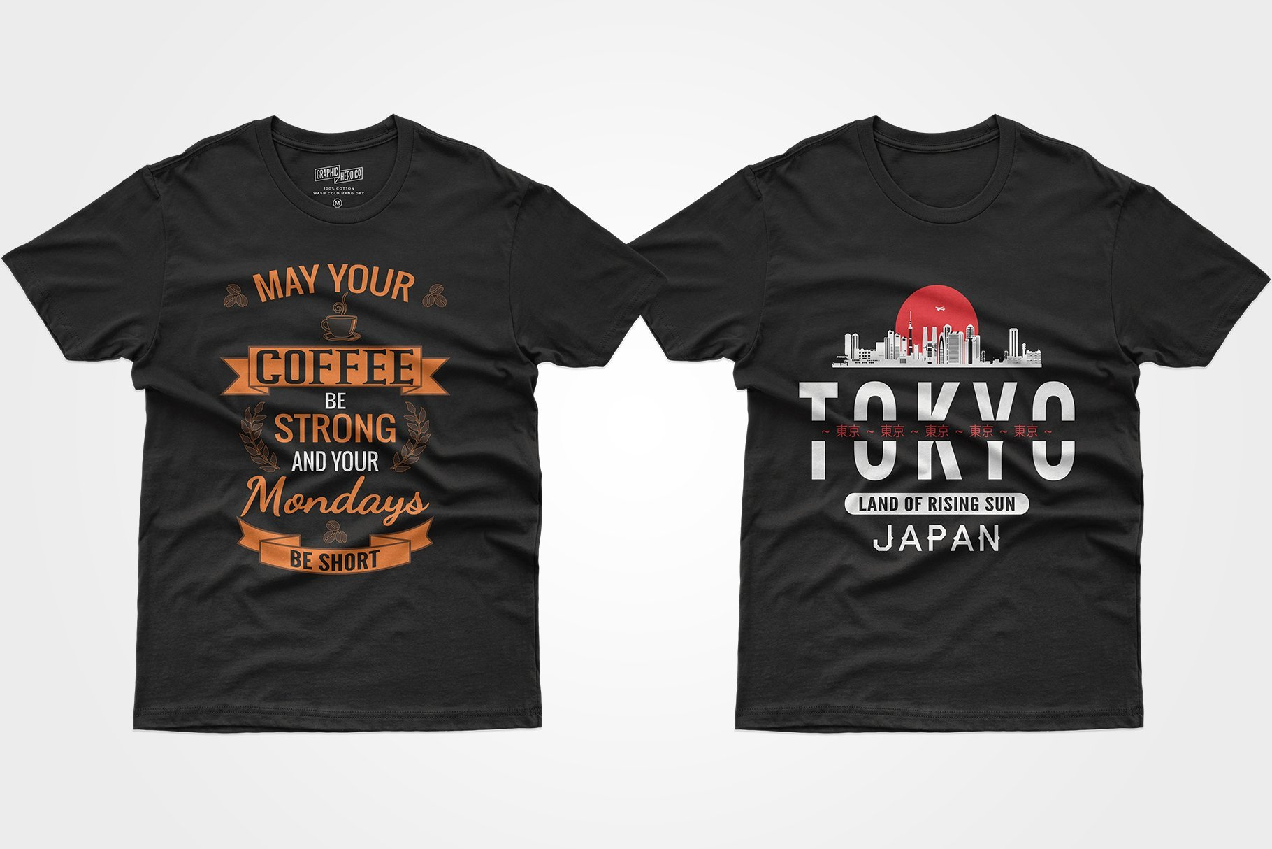 Two black T-shirts - one about the love of coffee, the other with the Tokyo wordmark.