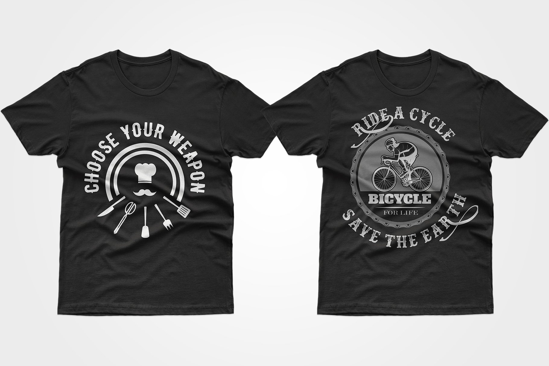 Two black T-shirts - one with kitchen sharps, the other with a cyclist.