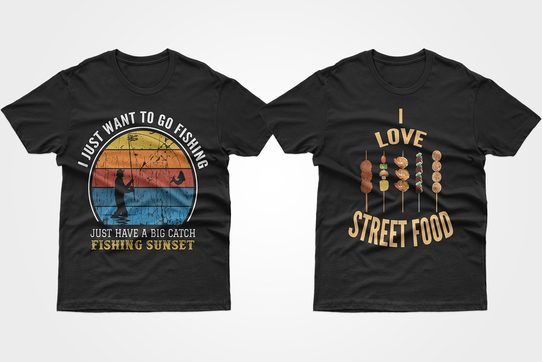 Two black T-shirts - one with a fisherman, the other with kebabs.