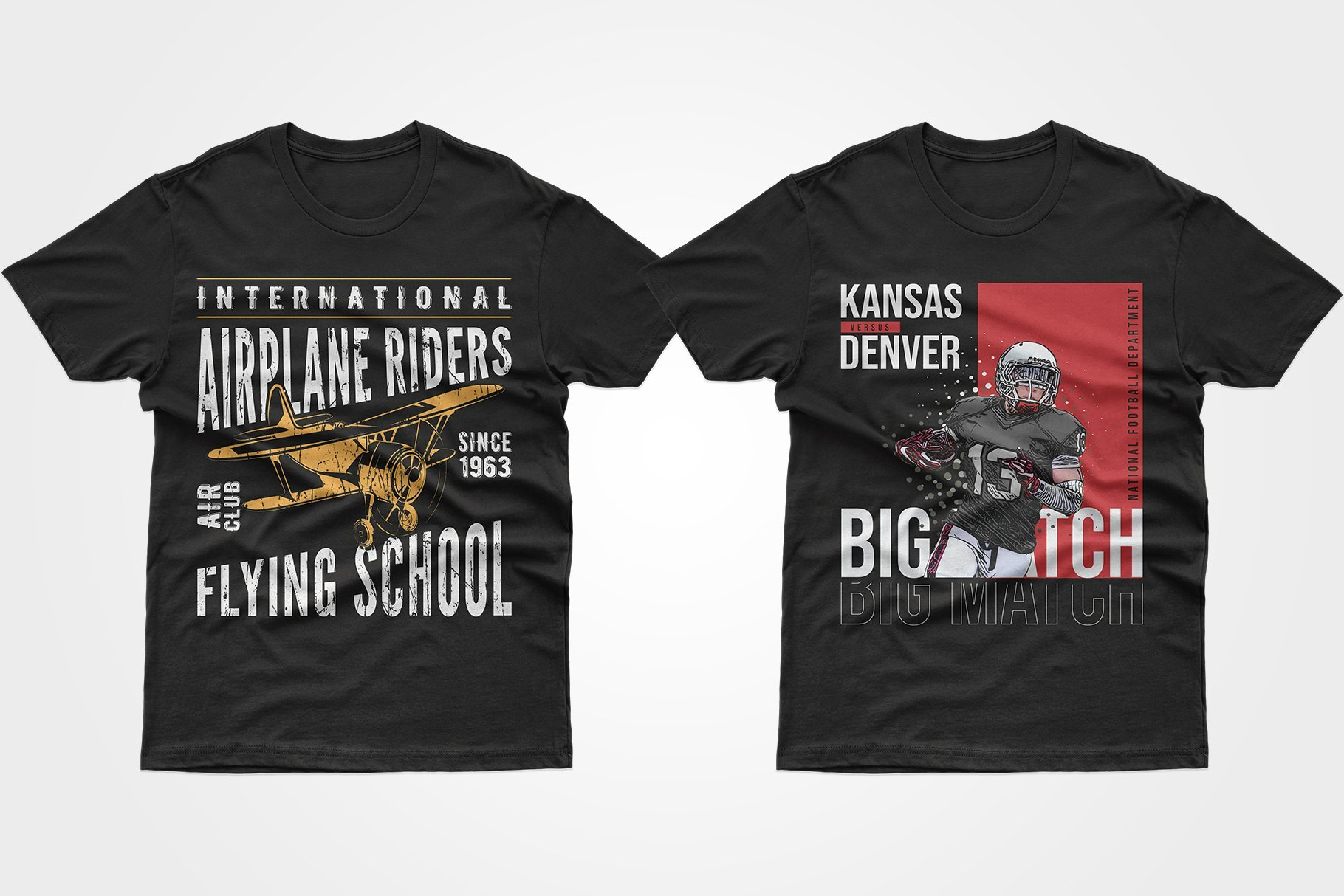 Two black T-shirts - with a baseball player and an airliner.