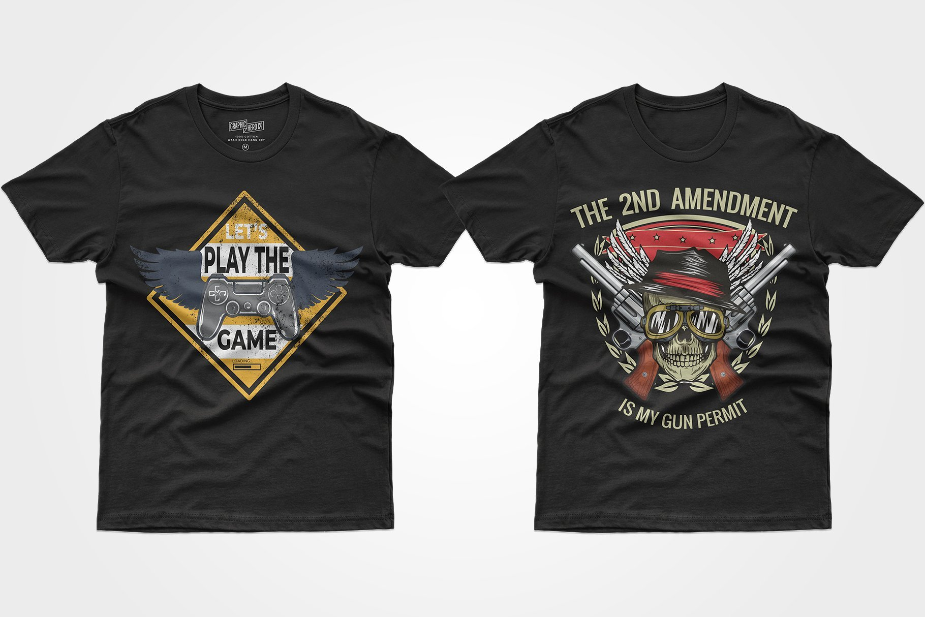 Two black T-shirts - one with a prefix and wings in the background, the other with a skull and a weapon.