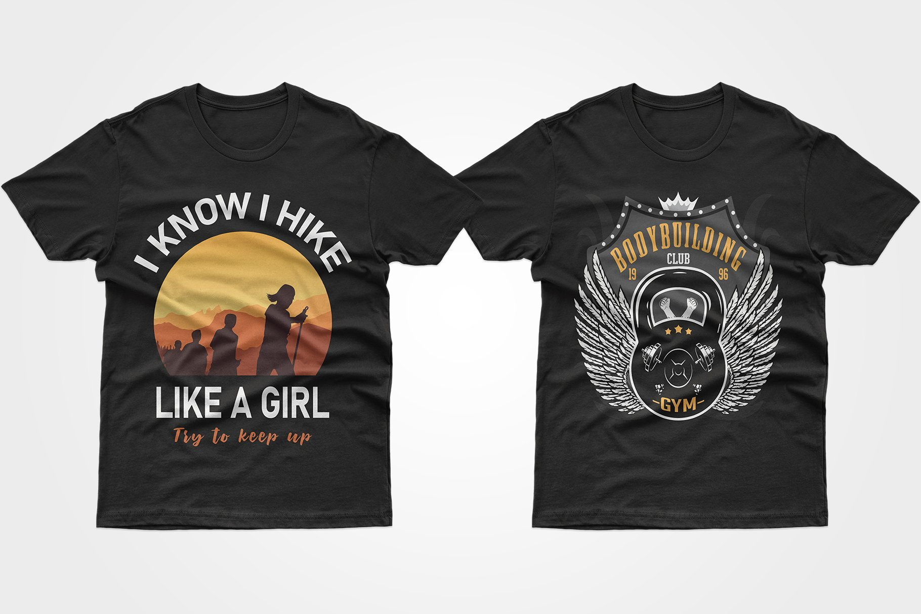 Two black T-shirts, one with dumbbells and one with a sunset hike.