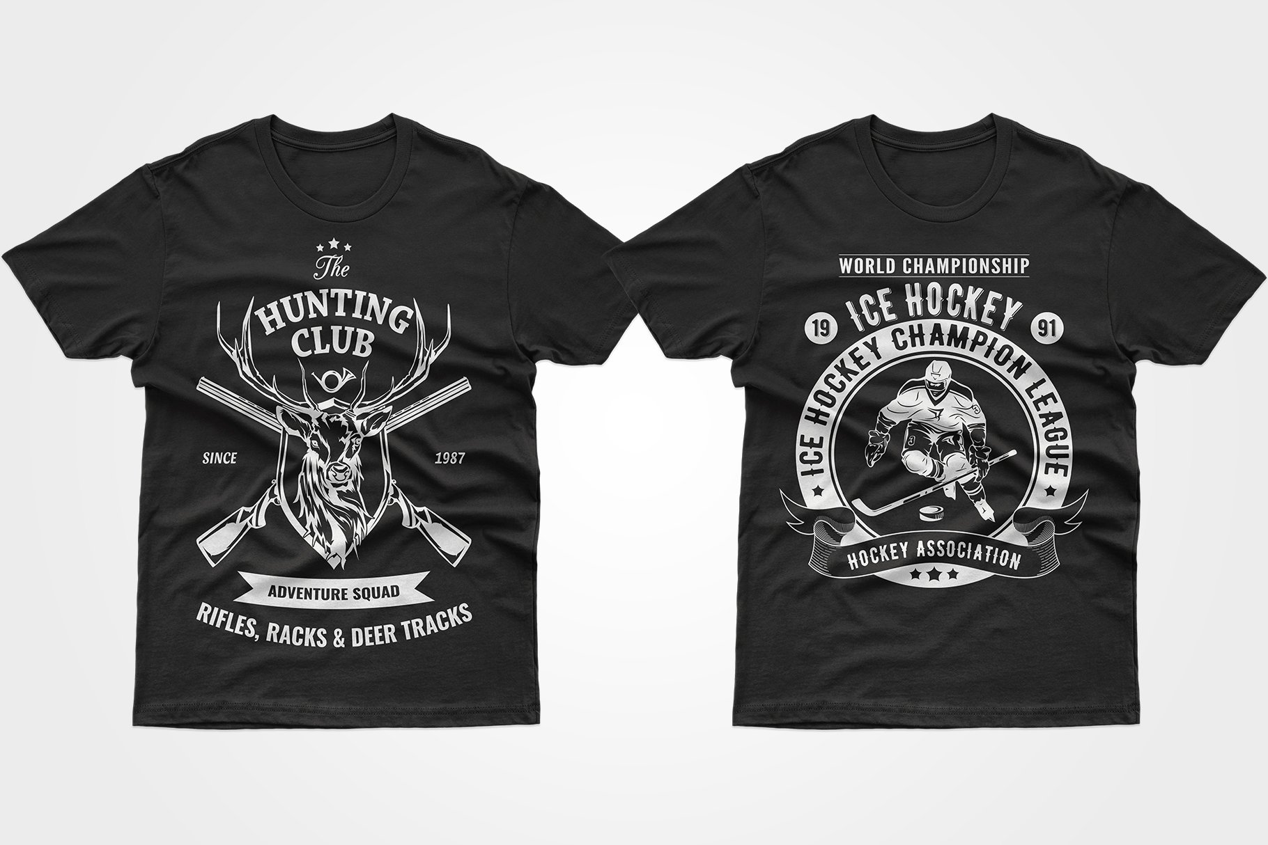 Two black T-shirts - one with a deer and a gun, the other with a playing hockey player.