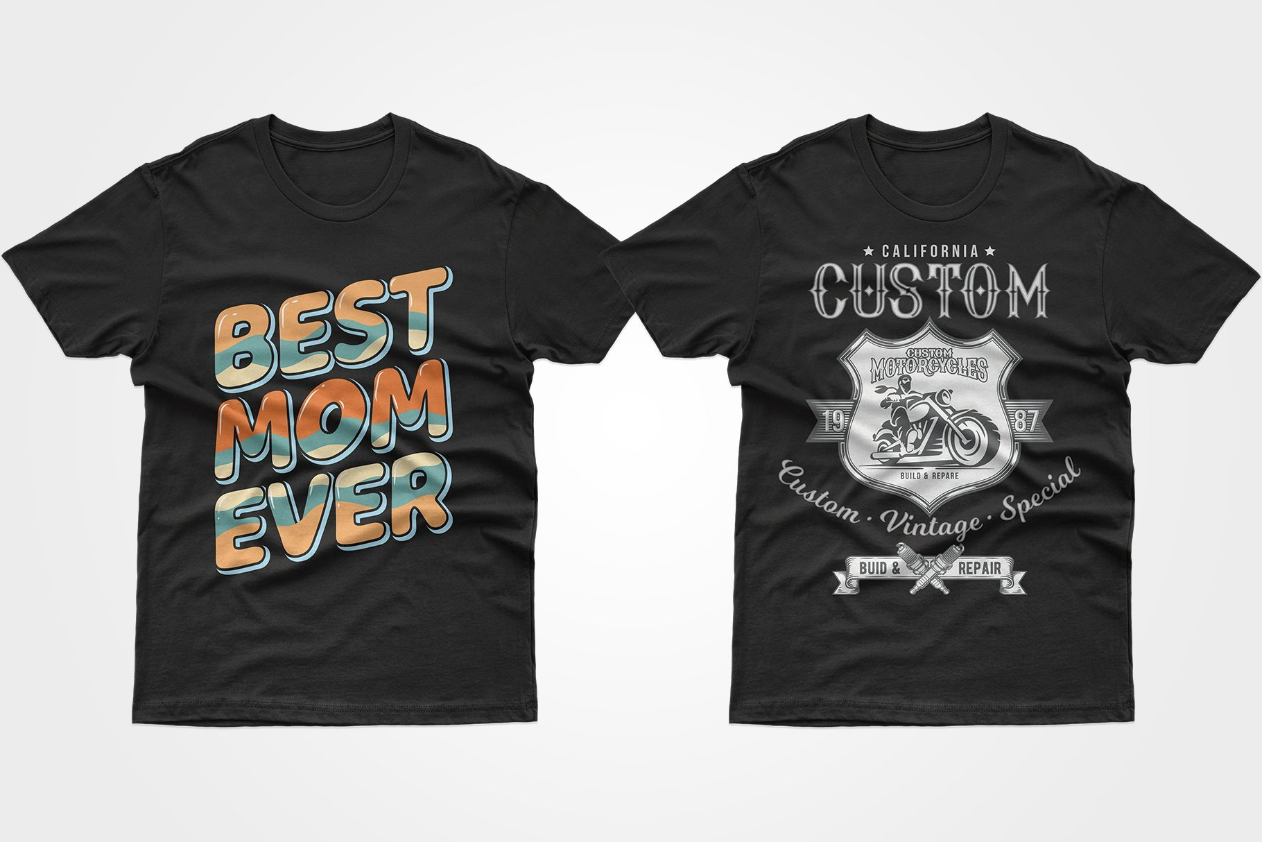 Two black T-shirts - one about love for mom, the other with Californian motorcyclists.