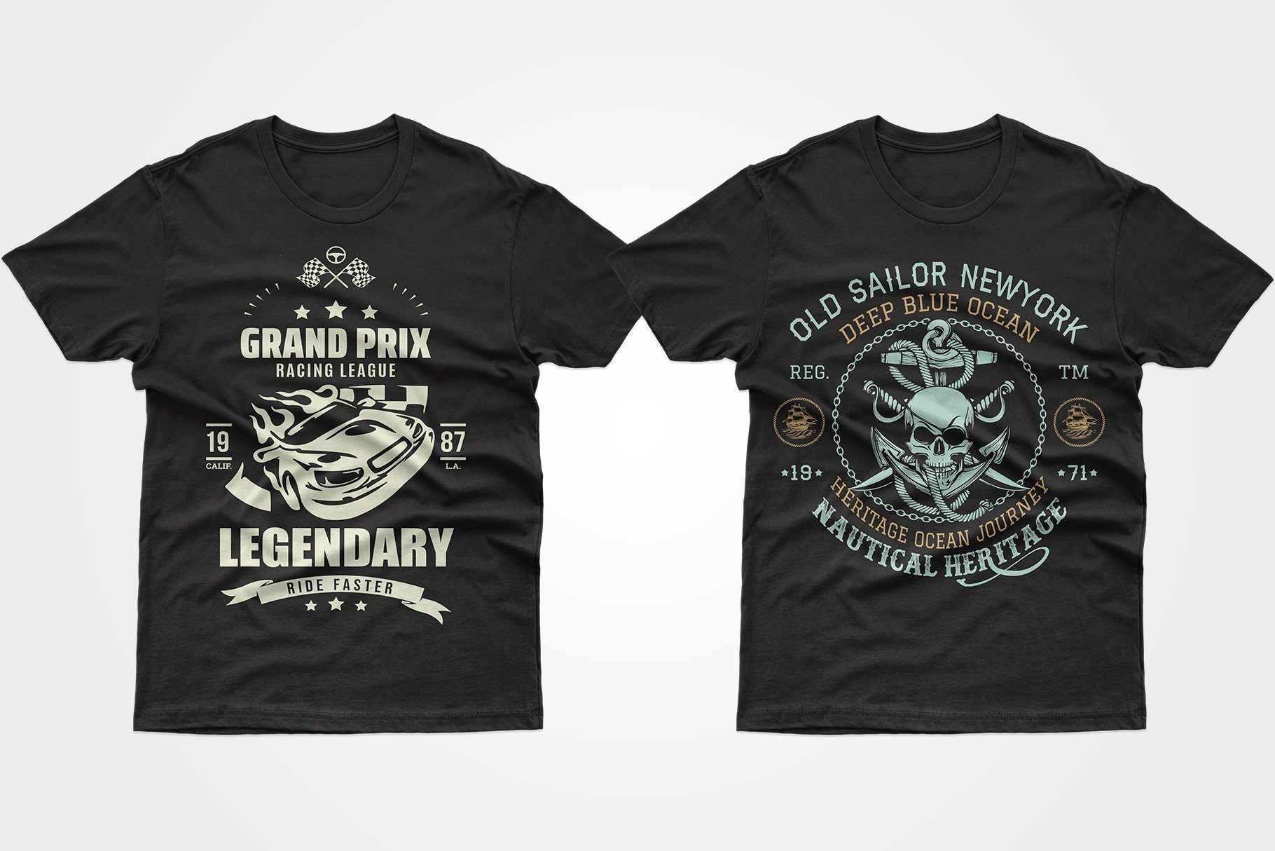 Two black T-shirts - one with a racing car, the other with a skull, rope and anchor.
