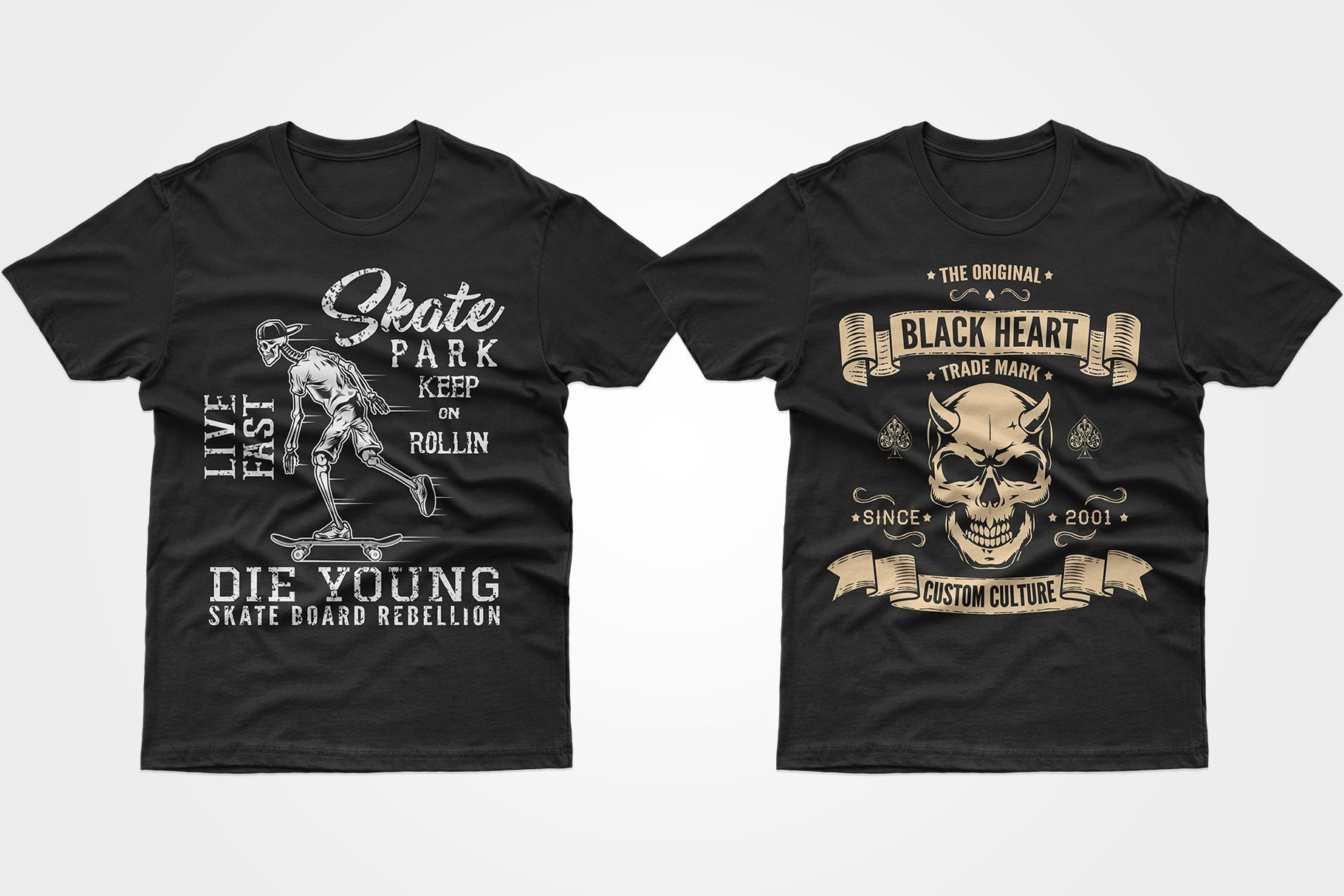 Two black T-shirts - one with a skeleton riding a skateboard, the other with a skull with horns.