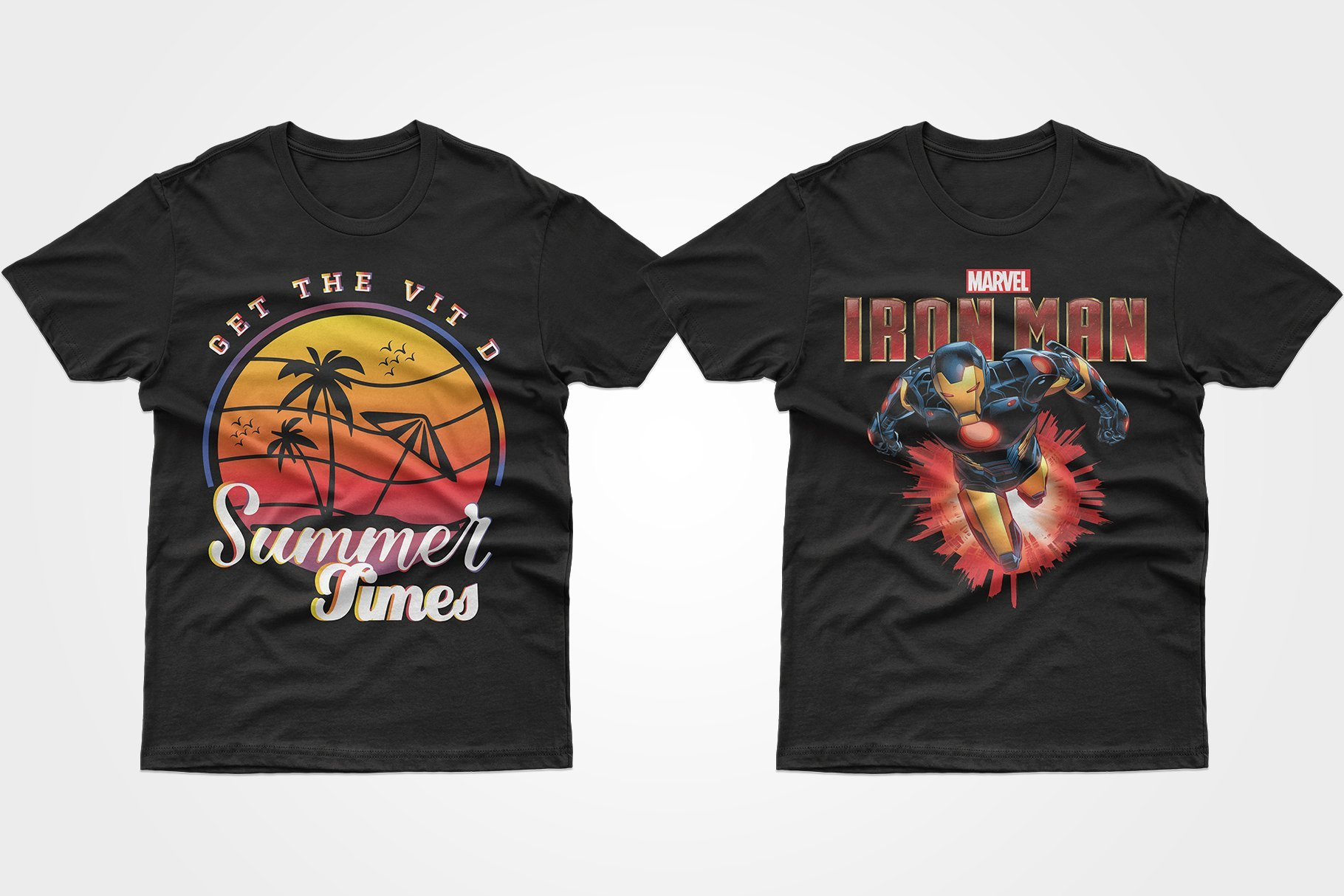Two black T-shirts - one with a summer sunset, the other with an Iron Man.