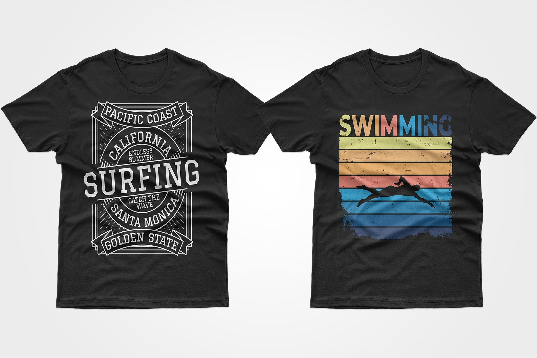 Two black T-shirts - one with a surfboard ad and one with a floating man.