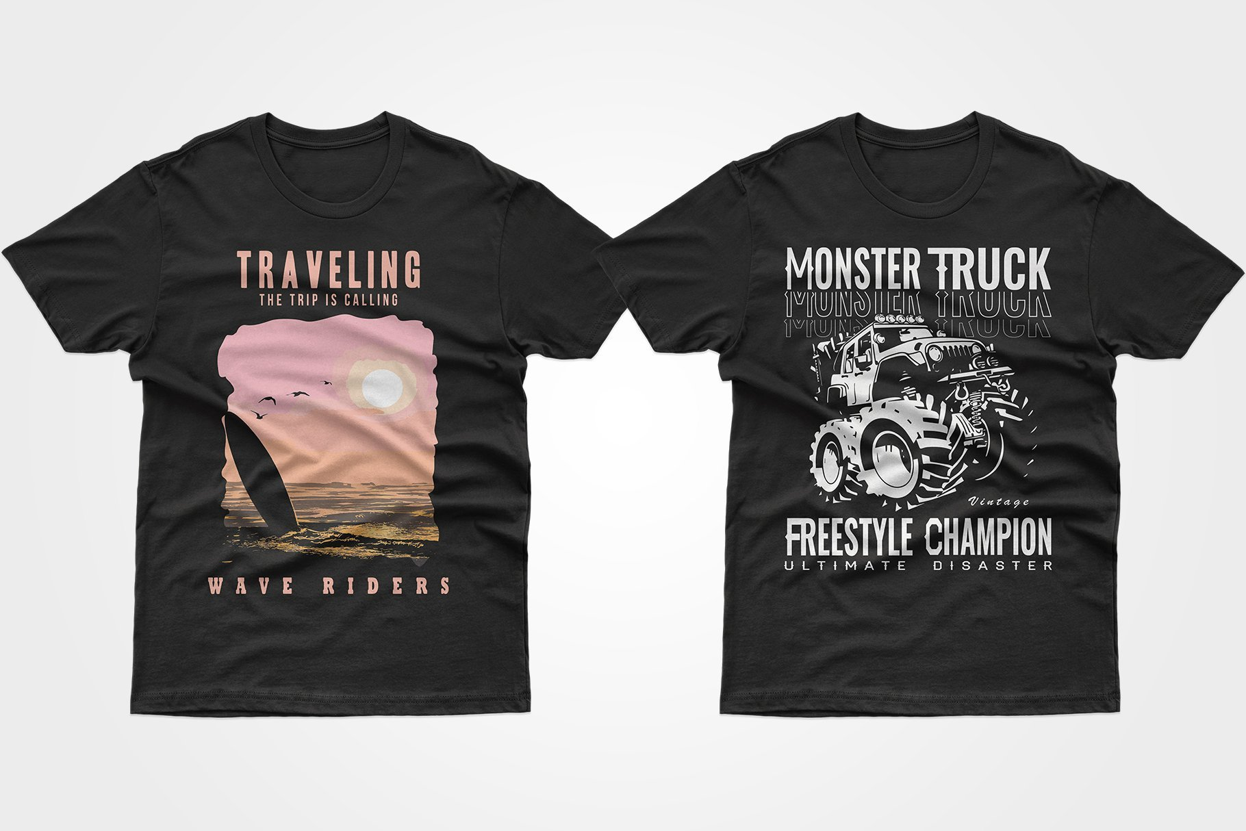 Two black T-shirts - one with the phrase about travel, the other with an off-road car.