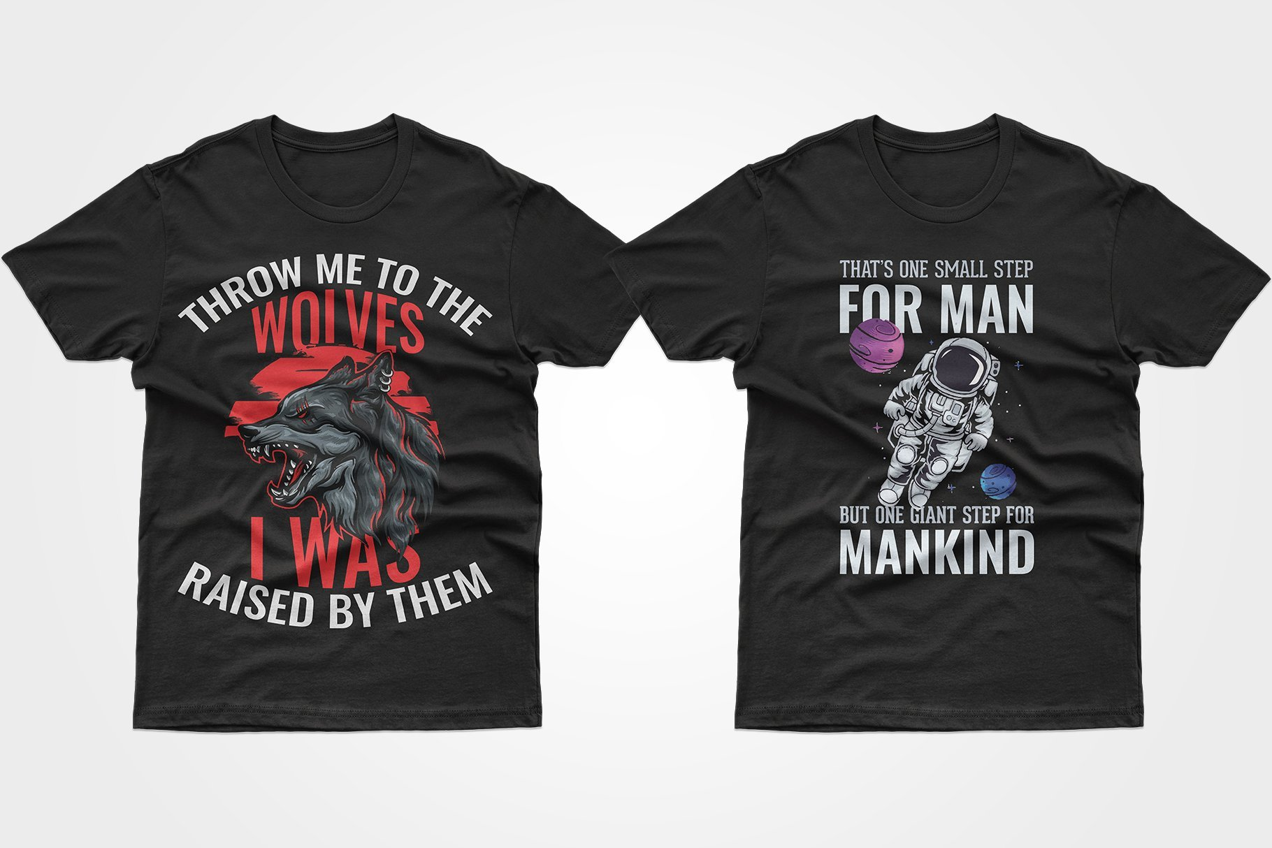 Two black T-shirts - with a wolf and an astronaut.