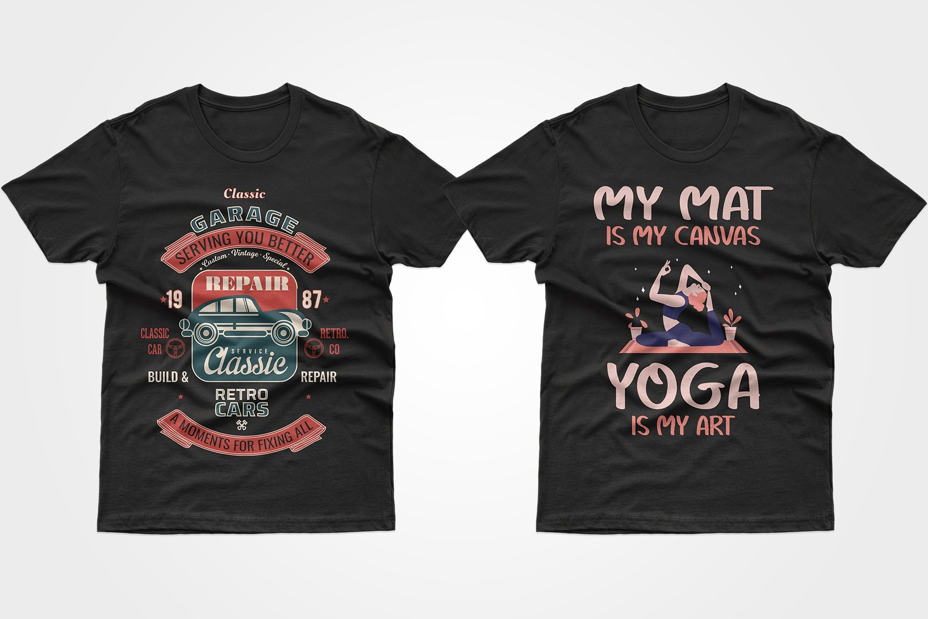 Two black T-shirts - one with a yoga ad and one with a car recycling service.