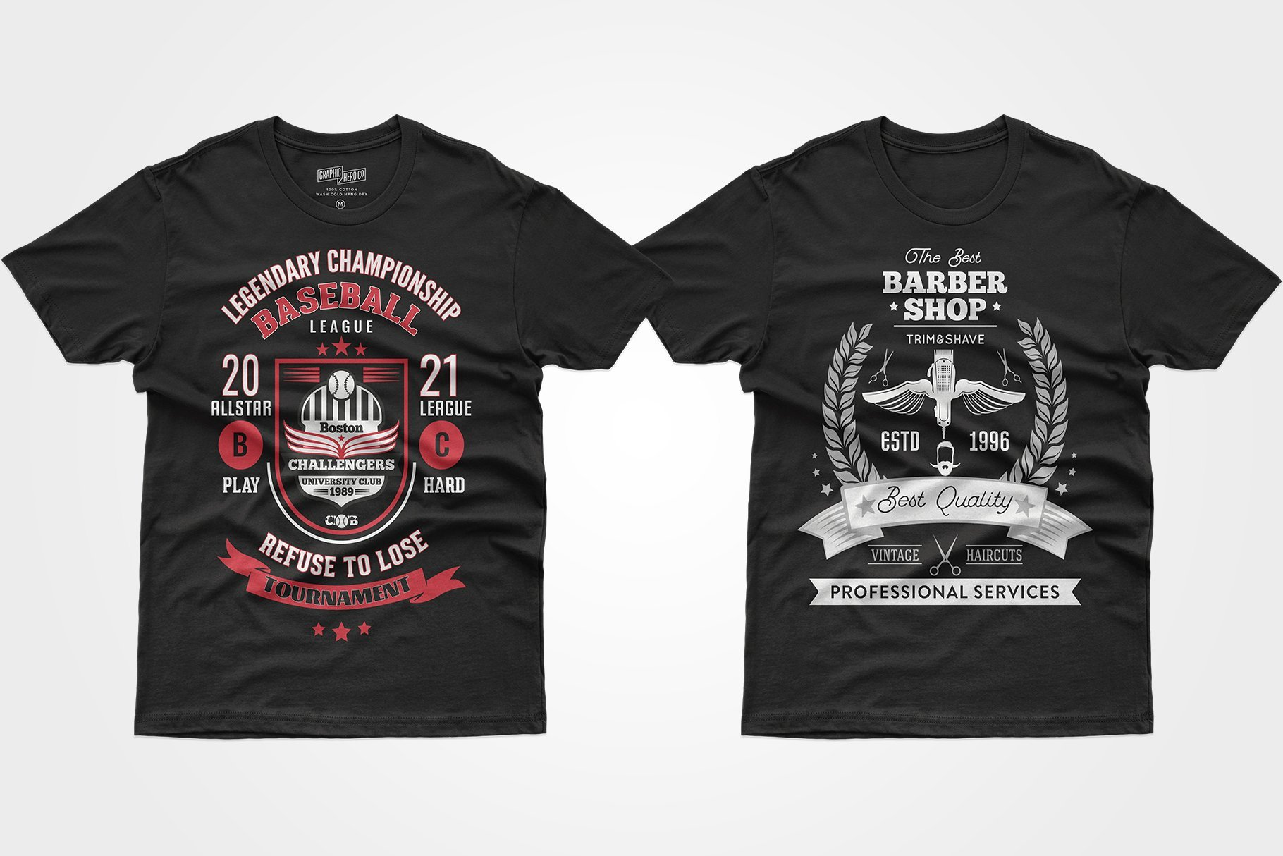 Two black T-shirts - one with a colored poster about the baseball championship, the other b / w with a barbershop advertisement.